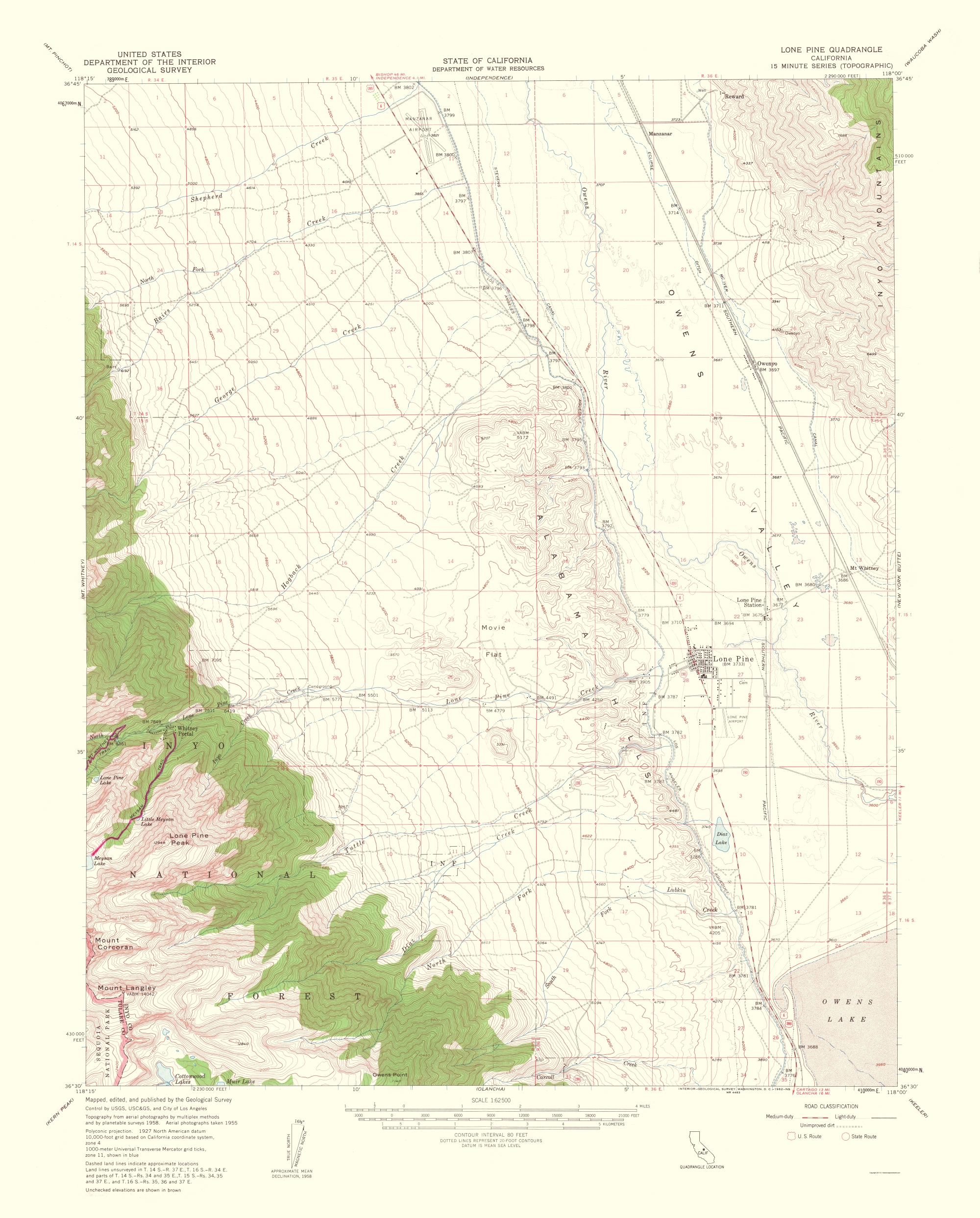 Old Topographical Map Lone Pine California 1962