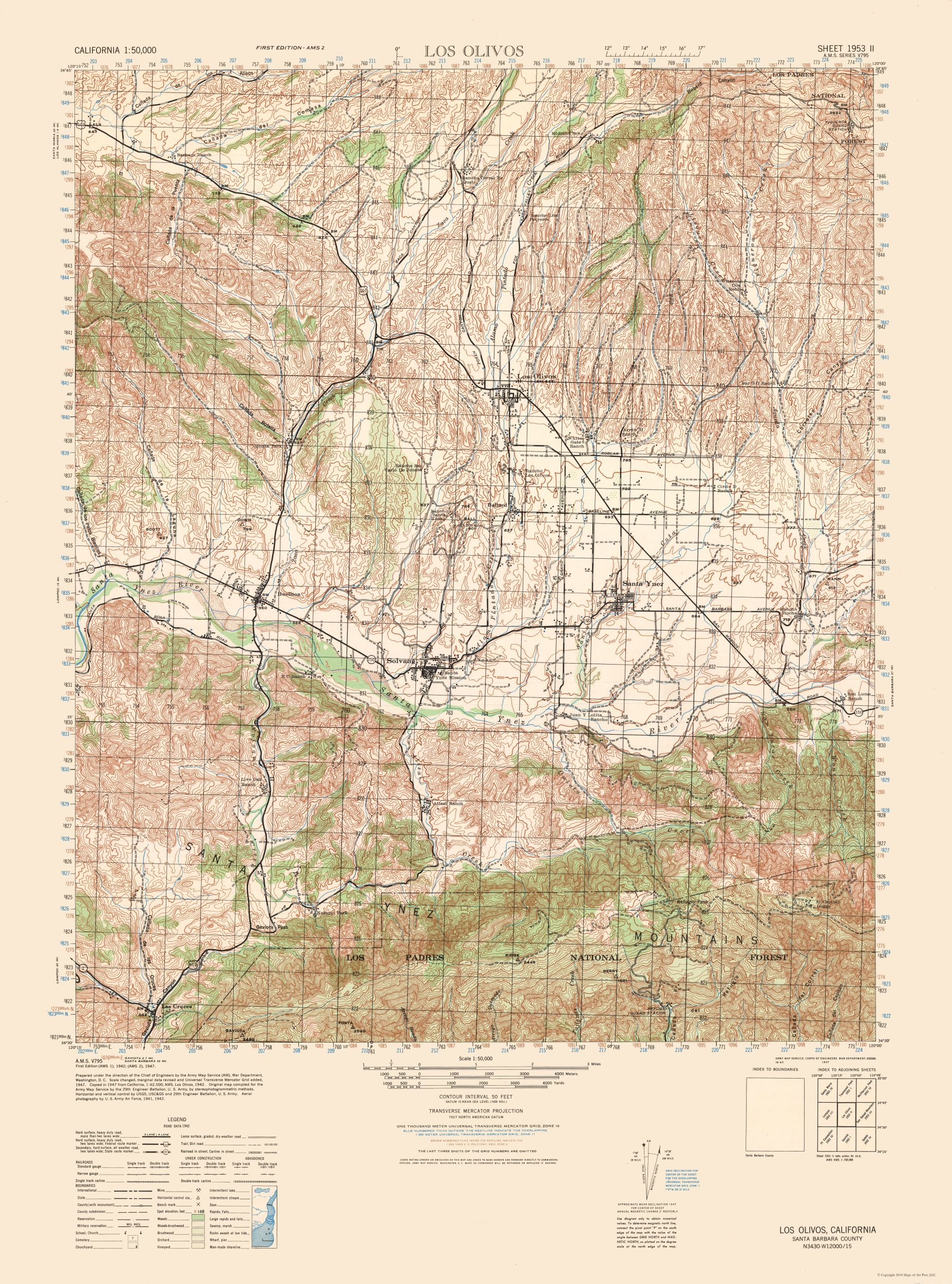 Historical Topographical Maps Los Olivos Sheet Us Army 1942 23 - Us-army-topographic-maps