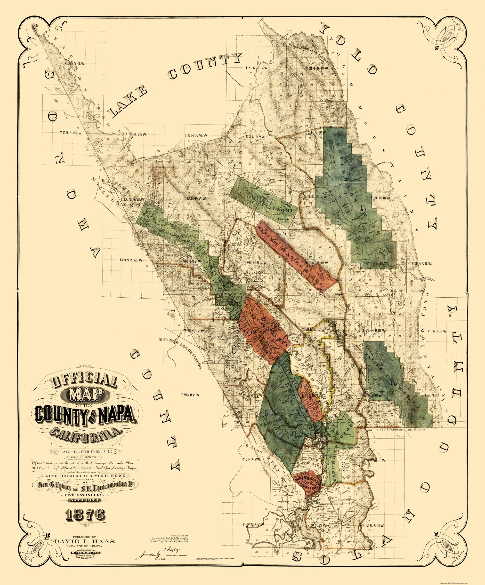 Old County Map Napa California Landowner Haas 1876