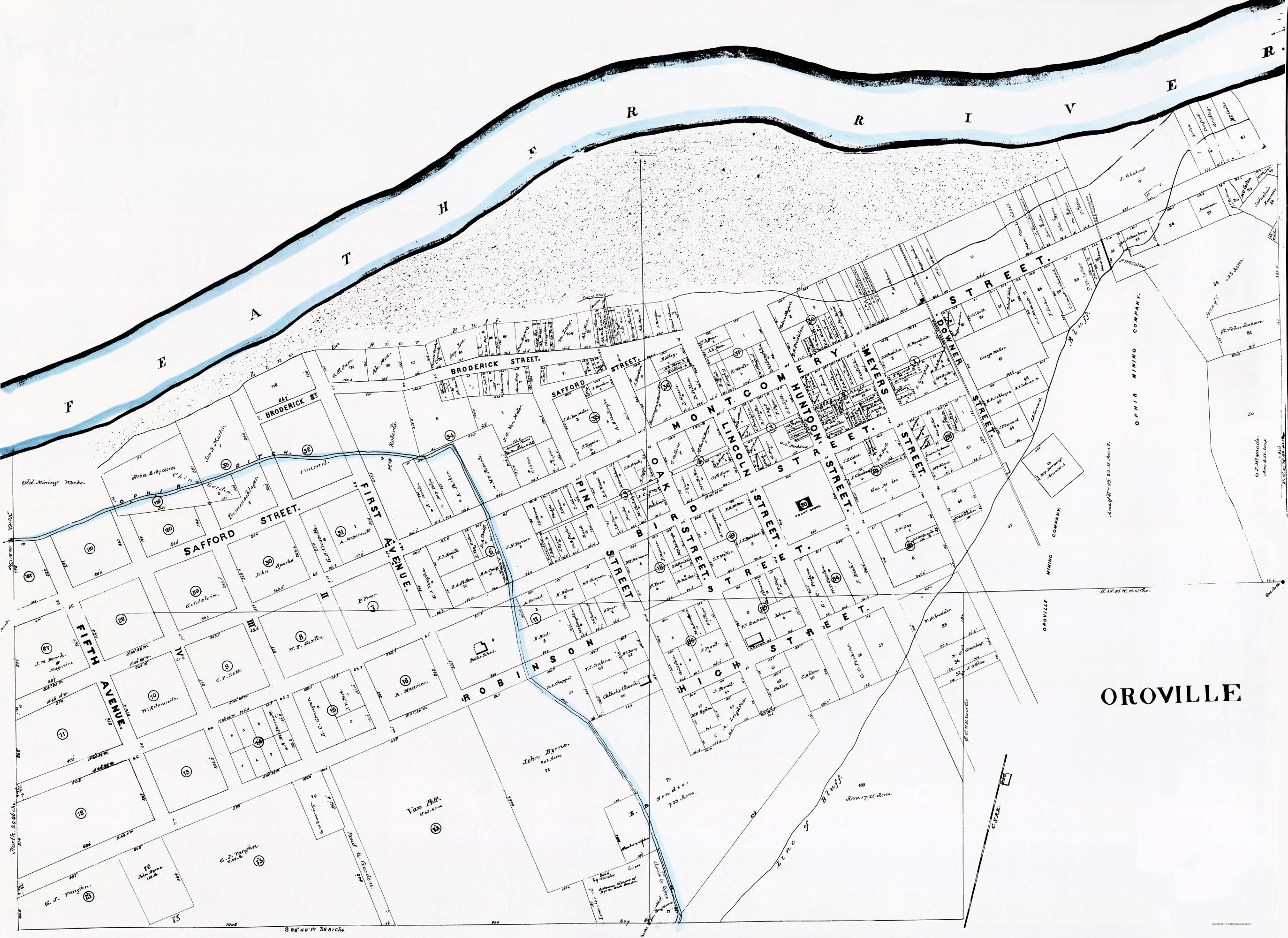 Old City Map Oroville California Landowner 1878