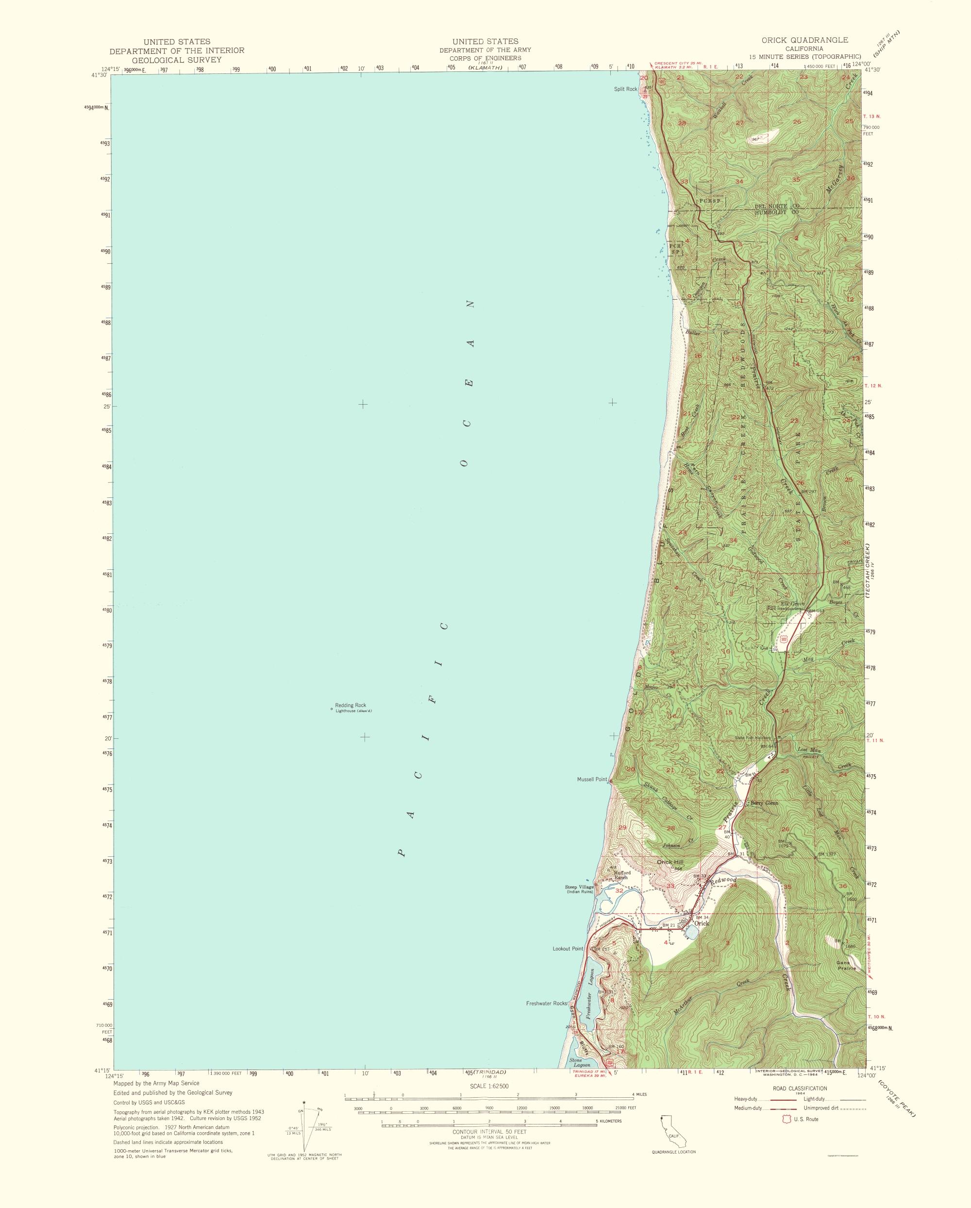 Orick California Map.Old Topographical Map Orick California 1954