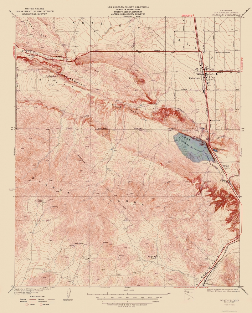 Old Topographical Map - Palmdale California 1937