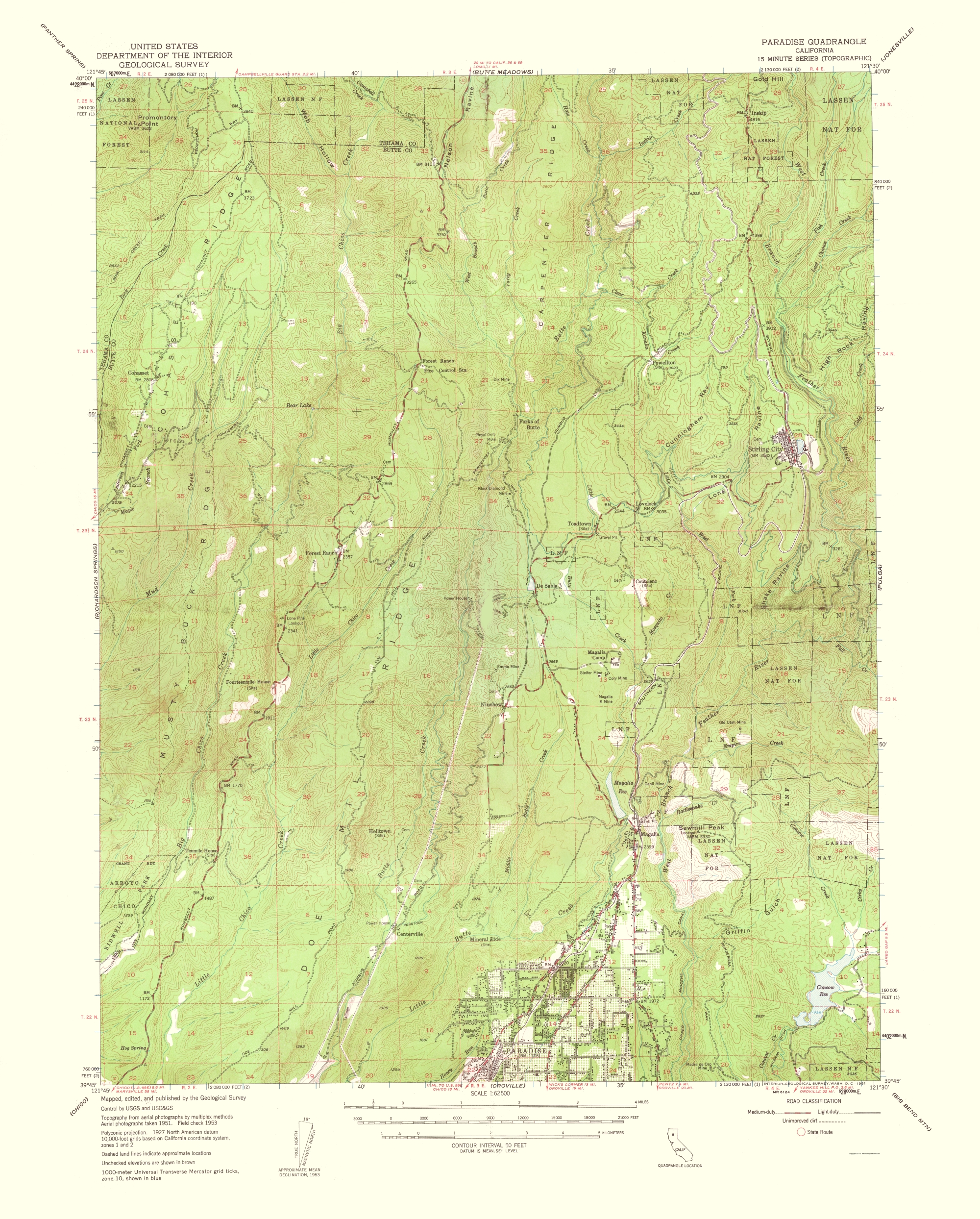 Paradise California Map.Topographical Map Print Paradise California Quad Usgs 1961 23 X 28 60