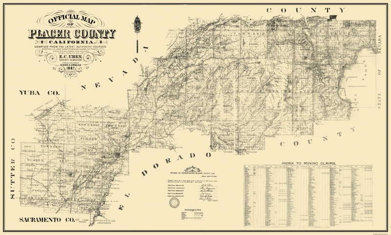 Old County Map - Placer California Landowner - 1887 - 38.19 x 23
