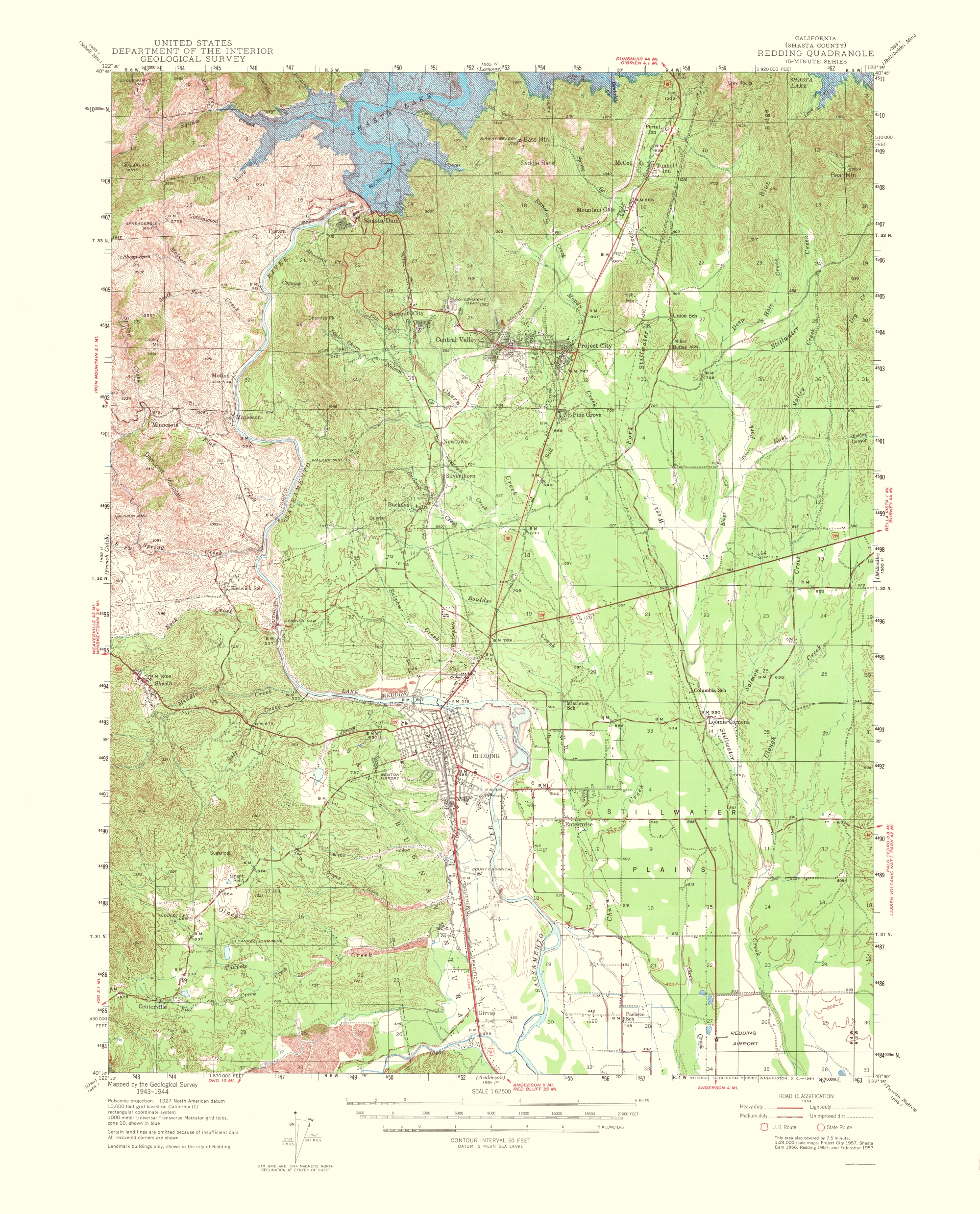 Old Topographical Map Redding California 1956