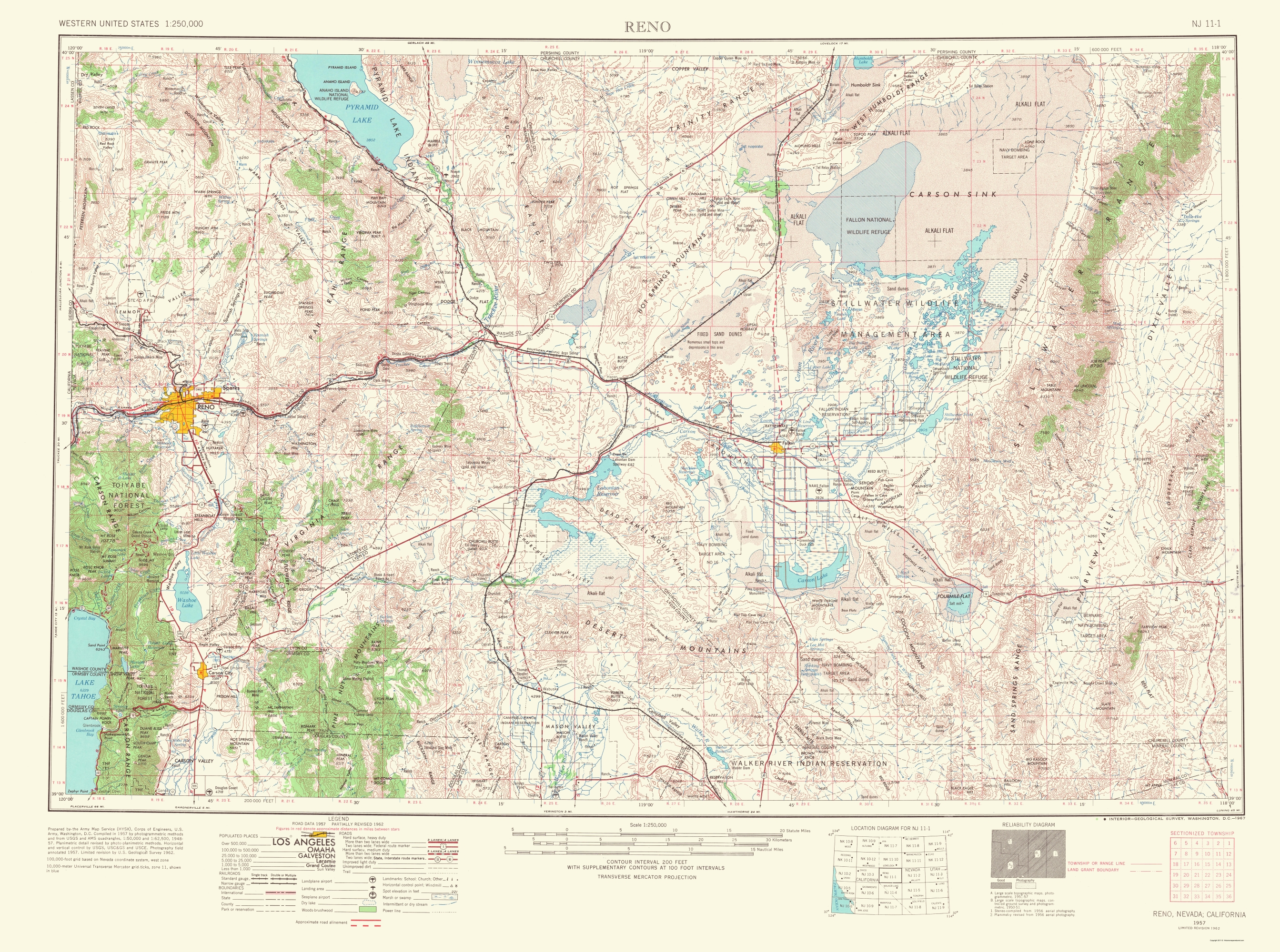 Old Topographical Map   Reno Nevada, California 1967
