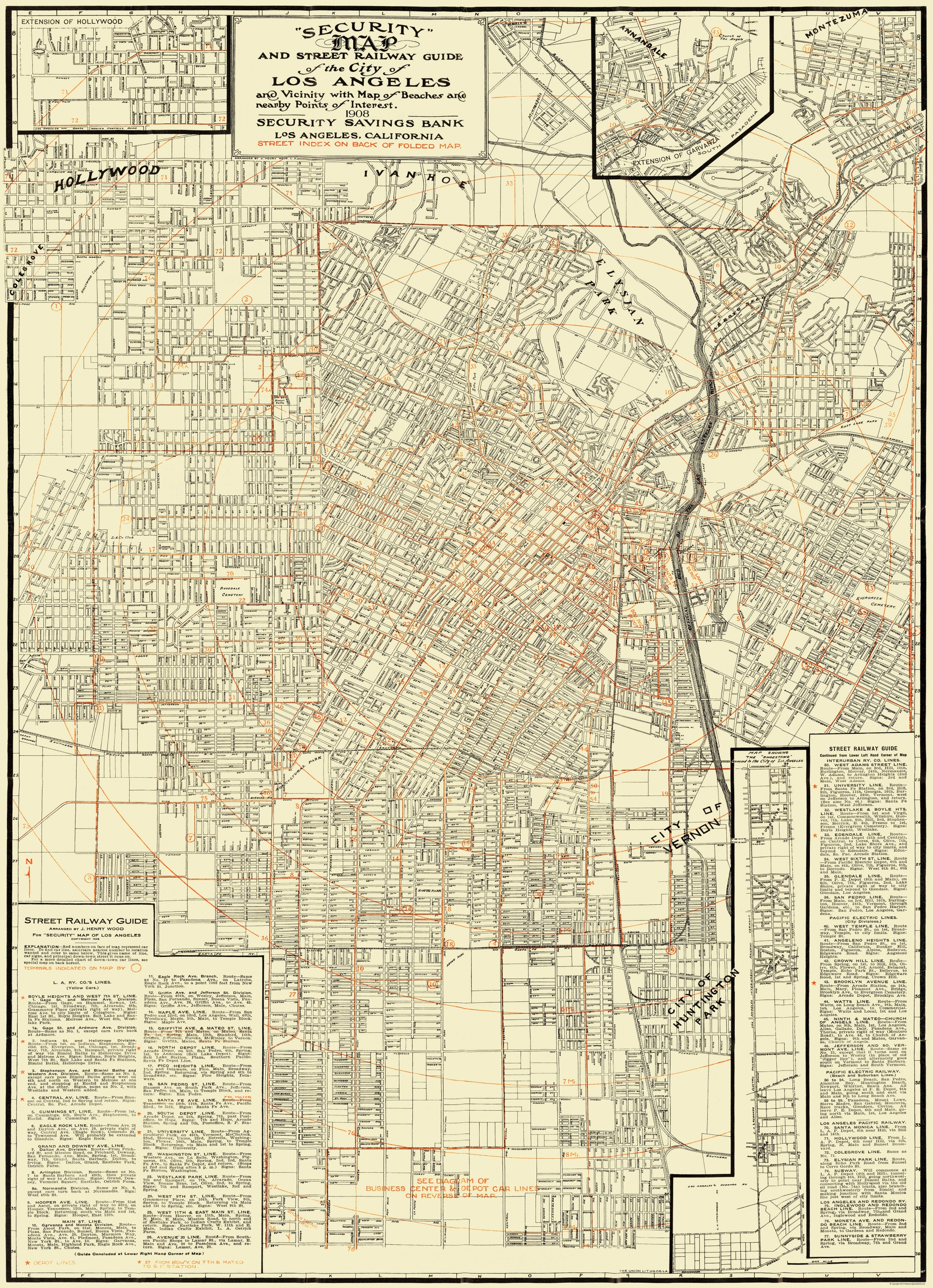 Old Railroad Map Los Angeles Street Railway Guide - Us map 1908