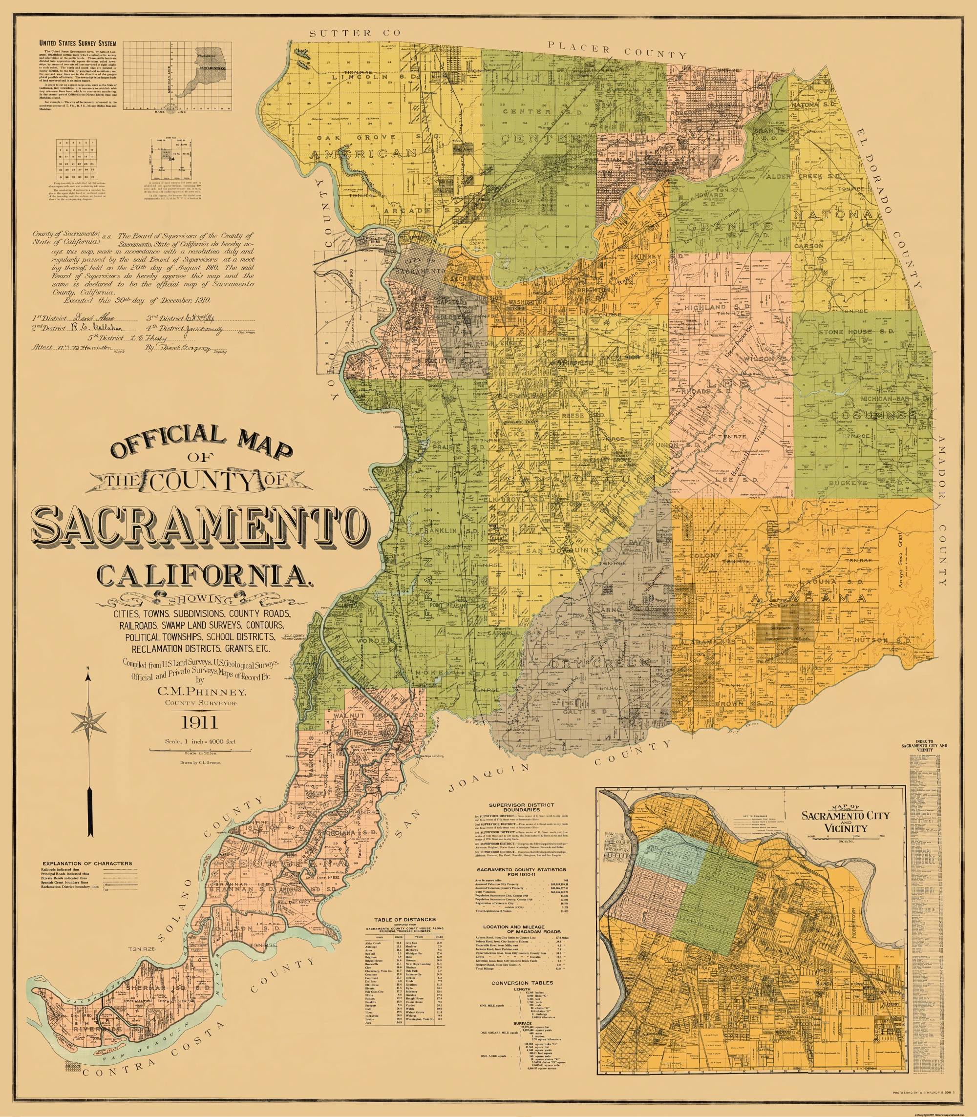 Old County Map Sacramento California Landowner 1911