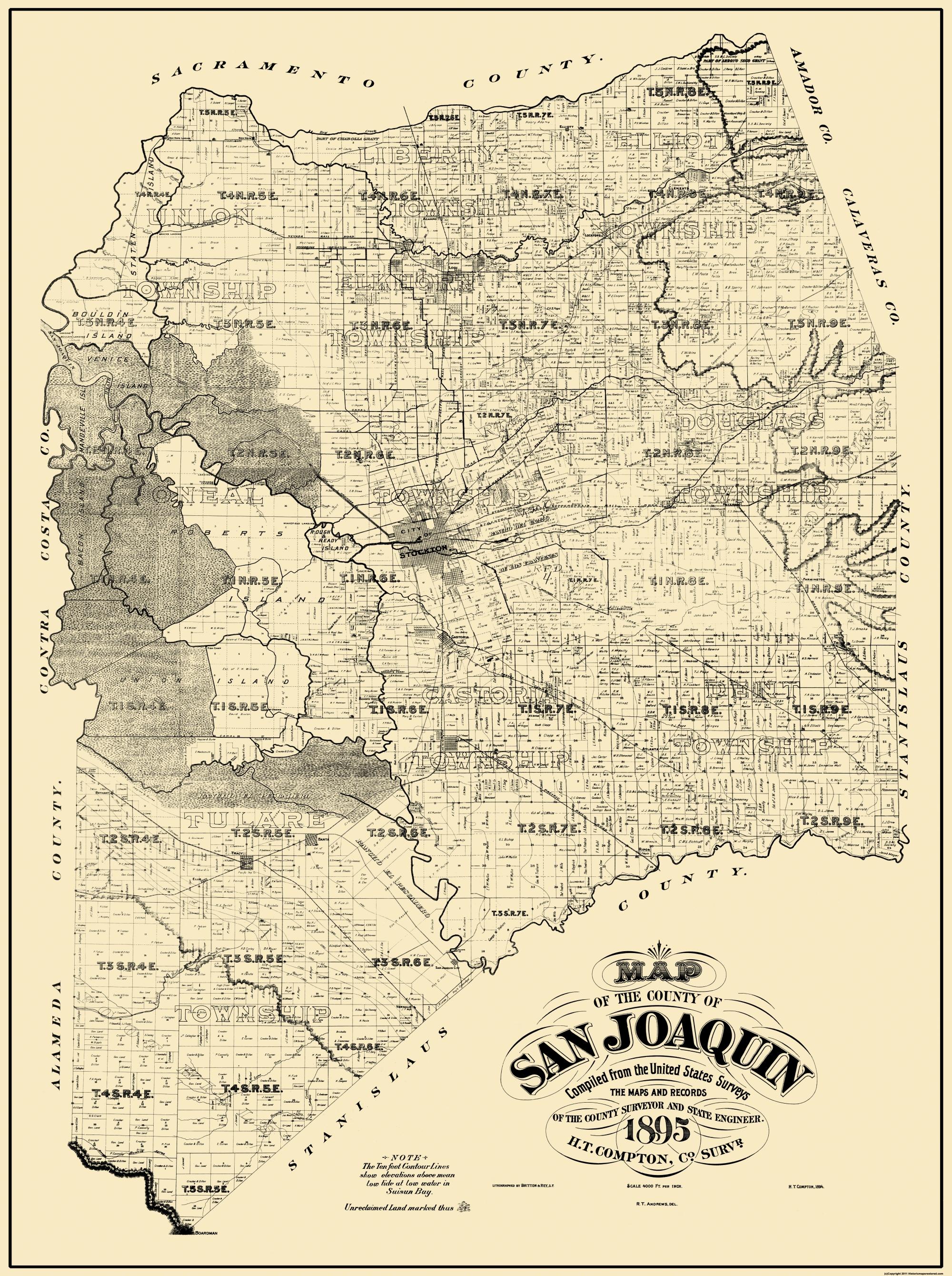 Old County Map San Joaquin California Landowner 1895