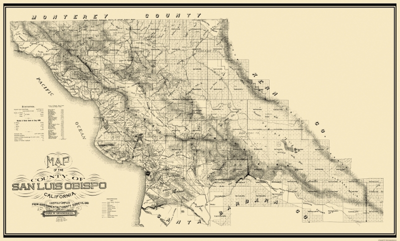 Old County Map - San Luis Obispo California - 1890 - 38.19 x 23 on monterey ca zip code map, valley village zip code map, emeryville zip code map, bishop zip code map, yuba county zip code map, central valley zip code map, nevada county zip code map, morro bay zip code map, los alamitos zip code map, burlingame zip code map, lassen county zip code map, marina del rey zip code map, rosemead zip code map, claremont zip code map, colton zip code map, calaveras county zip code map, desert hot springs zip code map, fresno zip code map, perris zip code map, kings county zip code map,