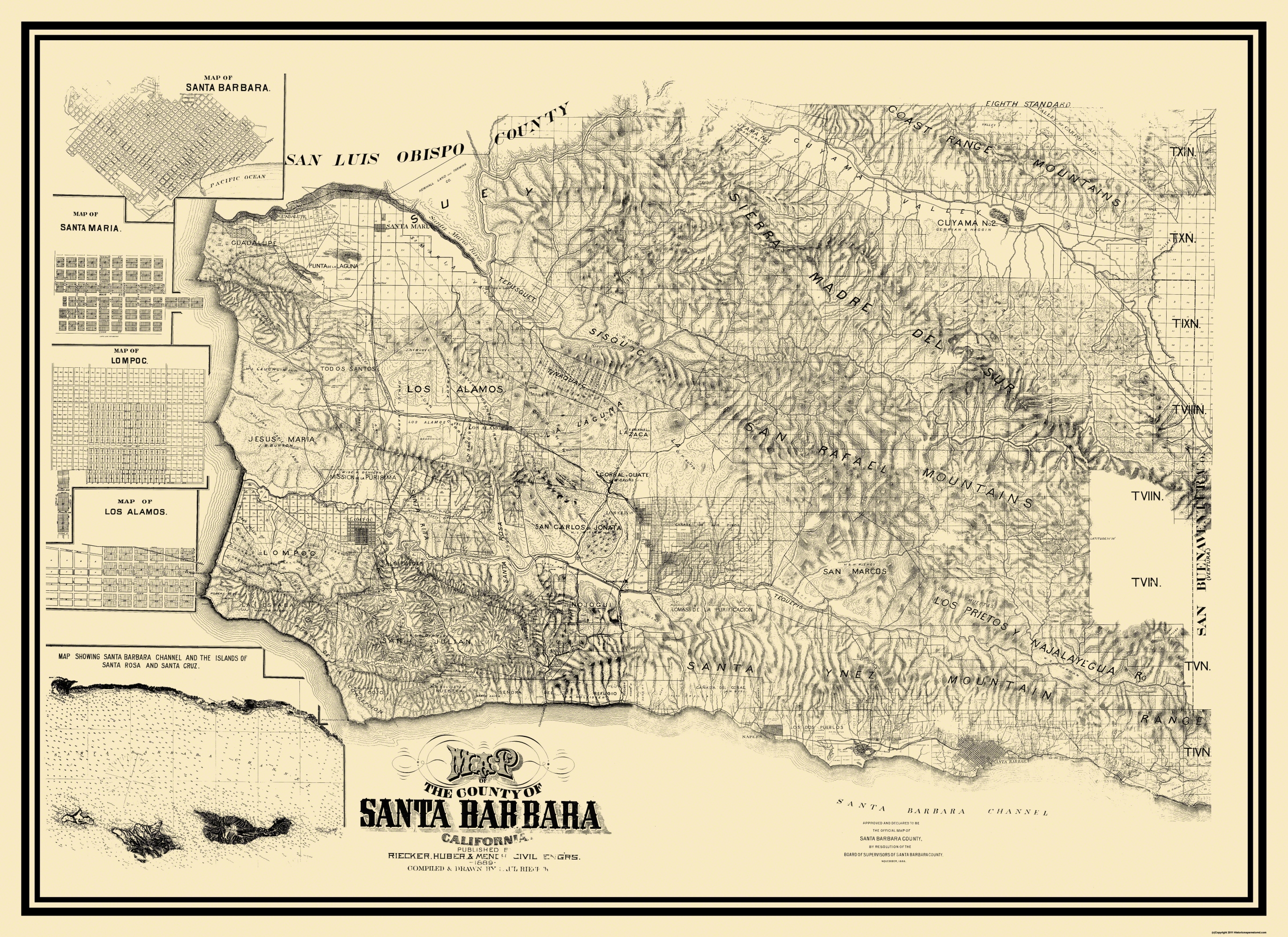 Old County Map Santa Barbara California Landowner - Santa barbara on us map