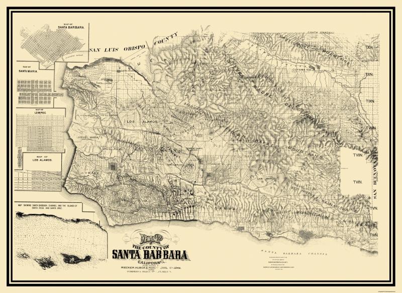 Old County Map - Santa Barbara California Landowner - 1889 - 31.63 on ojai california map, san pedro california map, san diego california map, grossmont california map, bay area california map, ventura california map, davis california map, san francisco california map, carmel california map, thousand oaks california map, orange county california map, paso robles california map, anaheim california map, mono lake california map, palm springs california map, lake tahoe california map, long beach california map, pacific coast highway california map, los angeles california map, turlock california map,