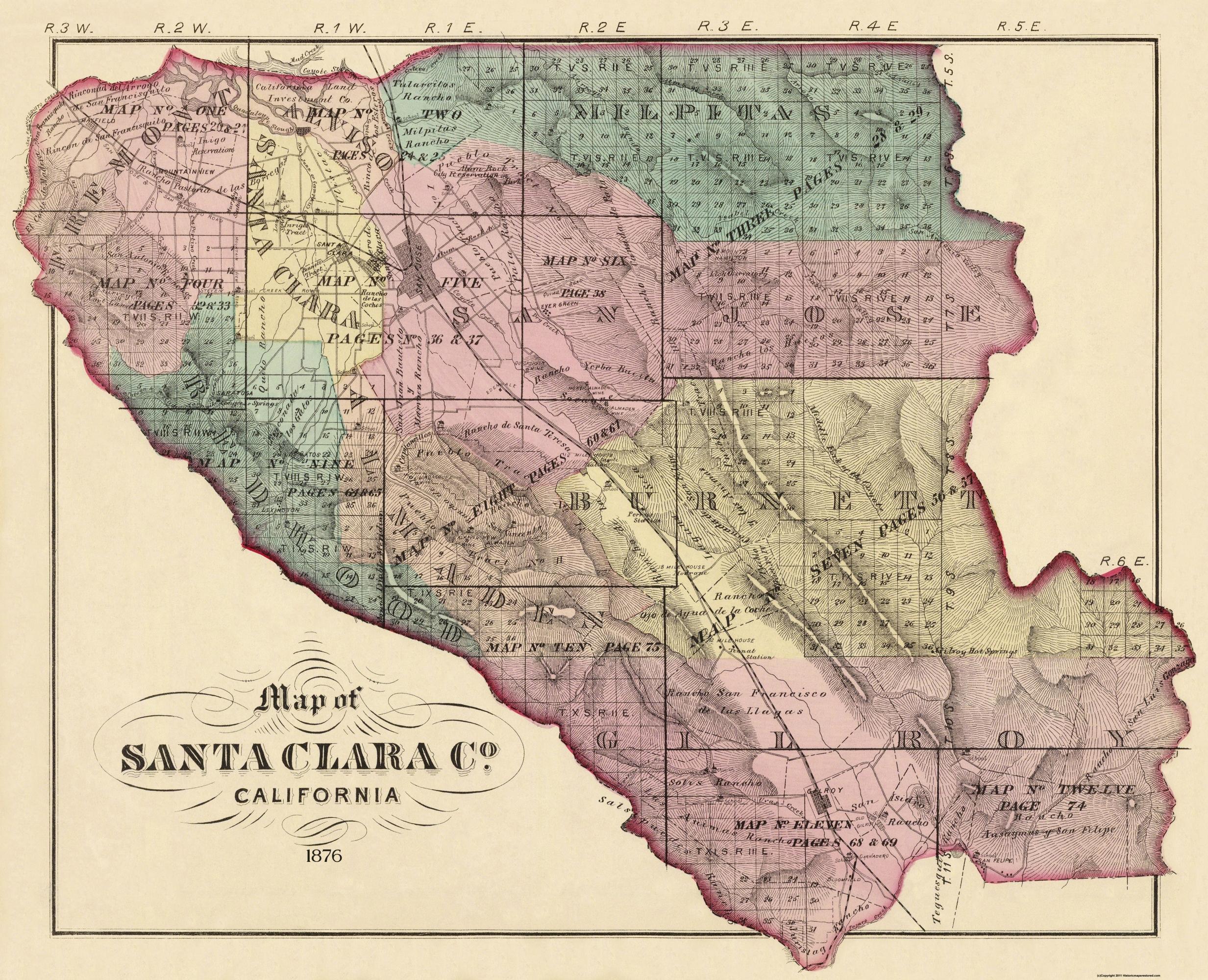 Old County Map Santa Clara California 1876