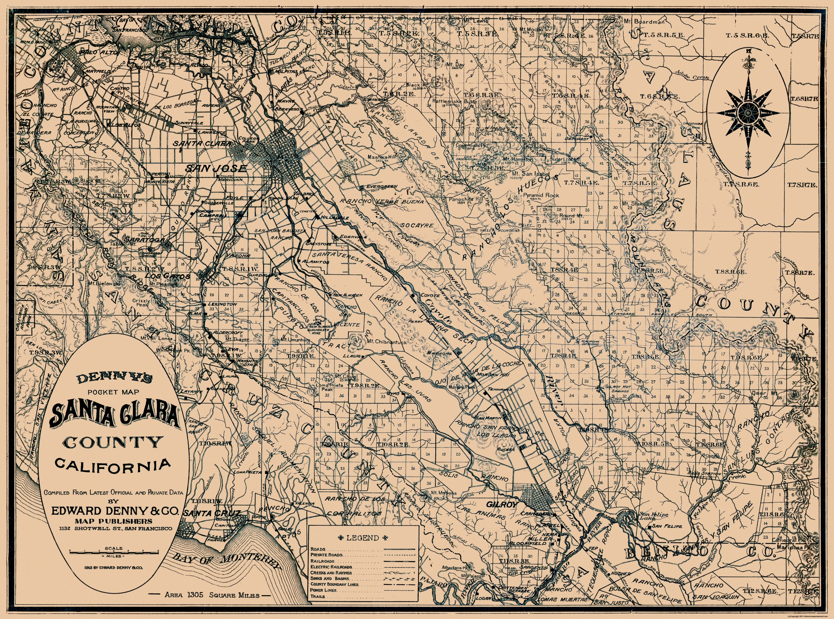 Old County Map - Santa Clara California - 1913