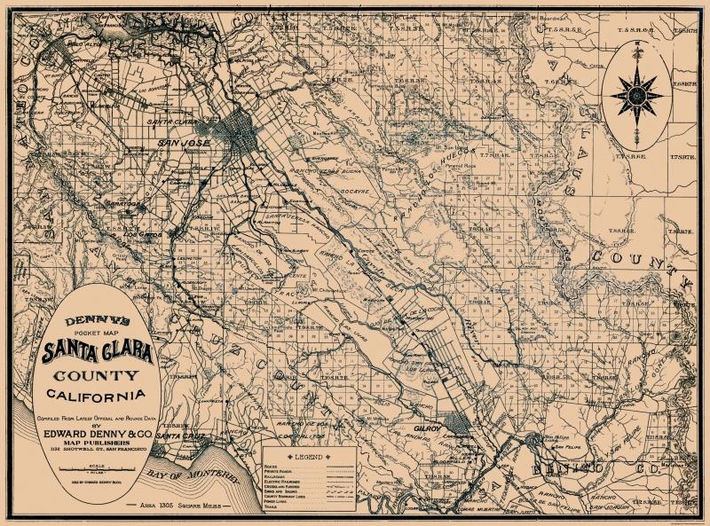 Old County Map - Santa Clara California - 1913 - 31 x 23 on map go california, map la california, map cisco california, map california california,
