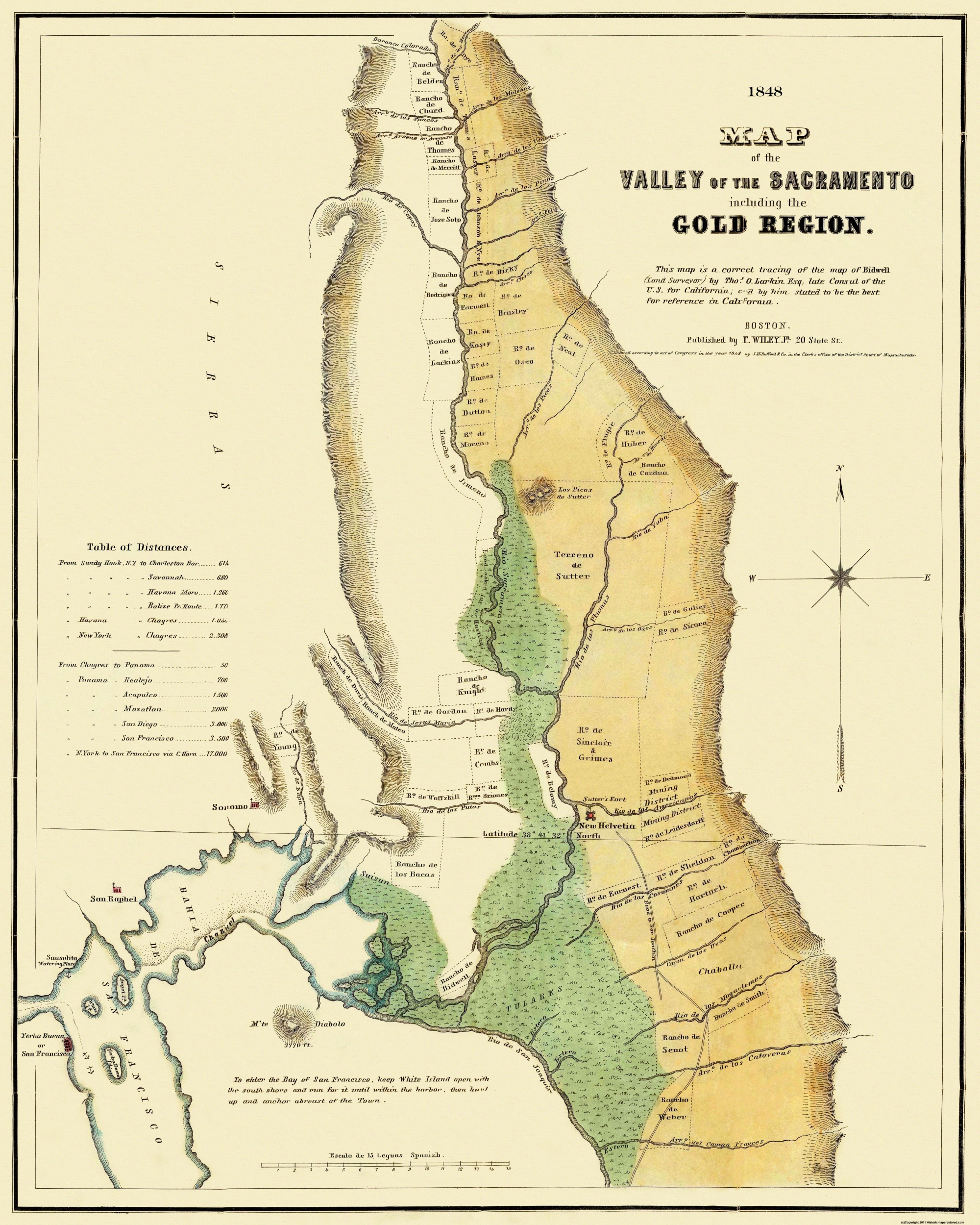 Old Mining Map Sacramento Valley Gold Region - Map of us in 1848