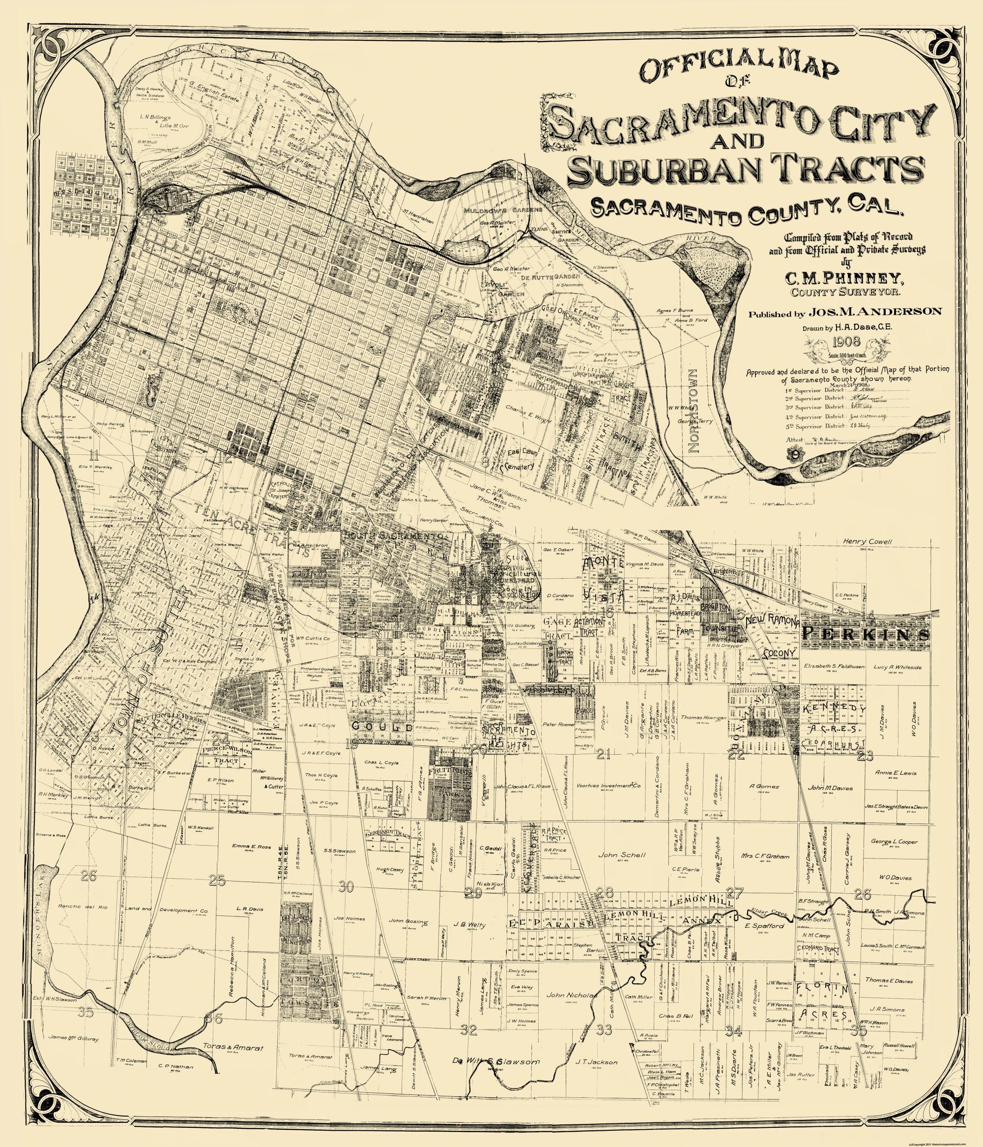 Old City Map Sacramento California Landowner 1908 - Us Map 1908