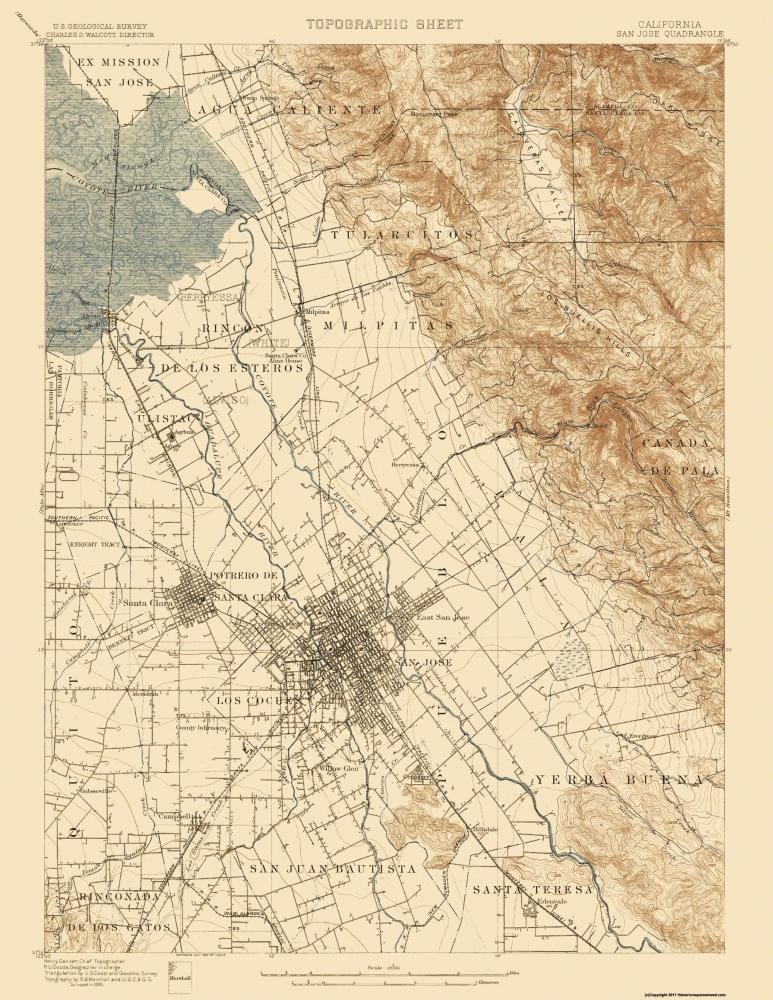 Santa Teresa California Map.Old Topographical Map San Jose California 1899