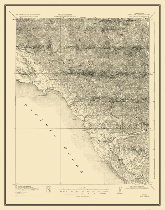 Topographical Map Print - San Simeon California Quad - USGS 1919 - on south el monte map, pismo beach map, moonstone beach map, yorba linda map, morro bay state park map, hearst castle map, pico rivera map, santa cruz map, van nuys map, hearst mansion map, casmalia map, carmel bay map, santa susana pass map, cayucos map, gorda map, lake san antonio map, yosemite national park map, mission san luis obispo map, turlock map,
