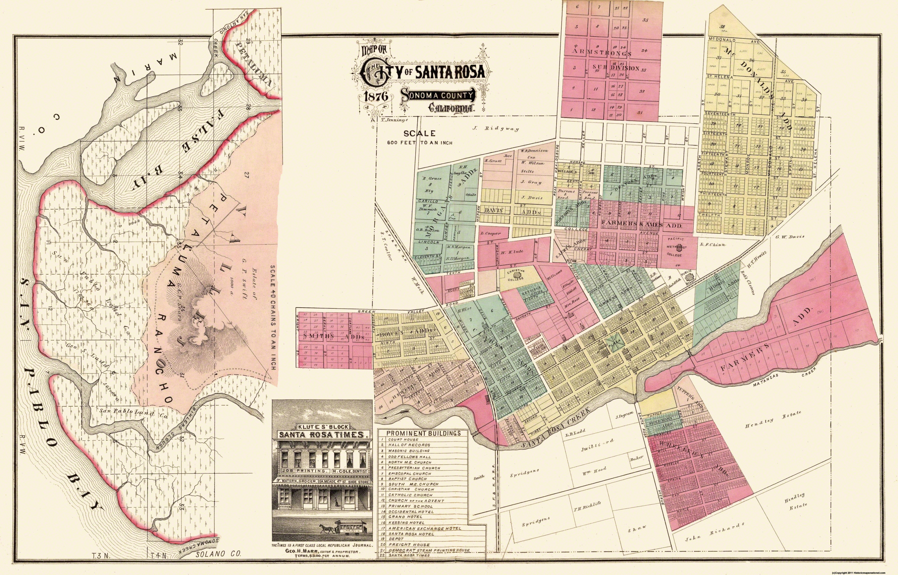 Santa Rosa California Map.Santa Rosa California Plan Marr 1876 35 94 X 23