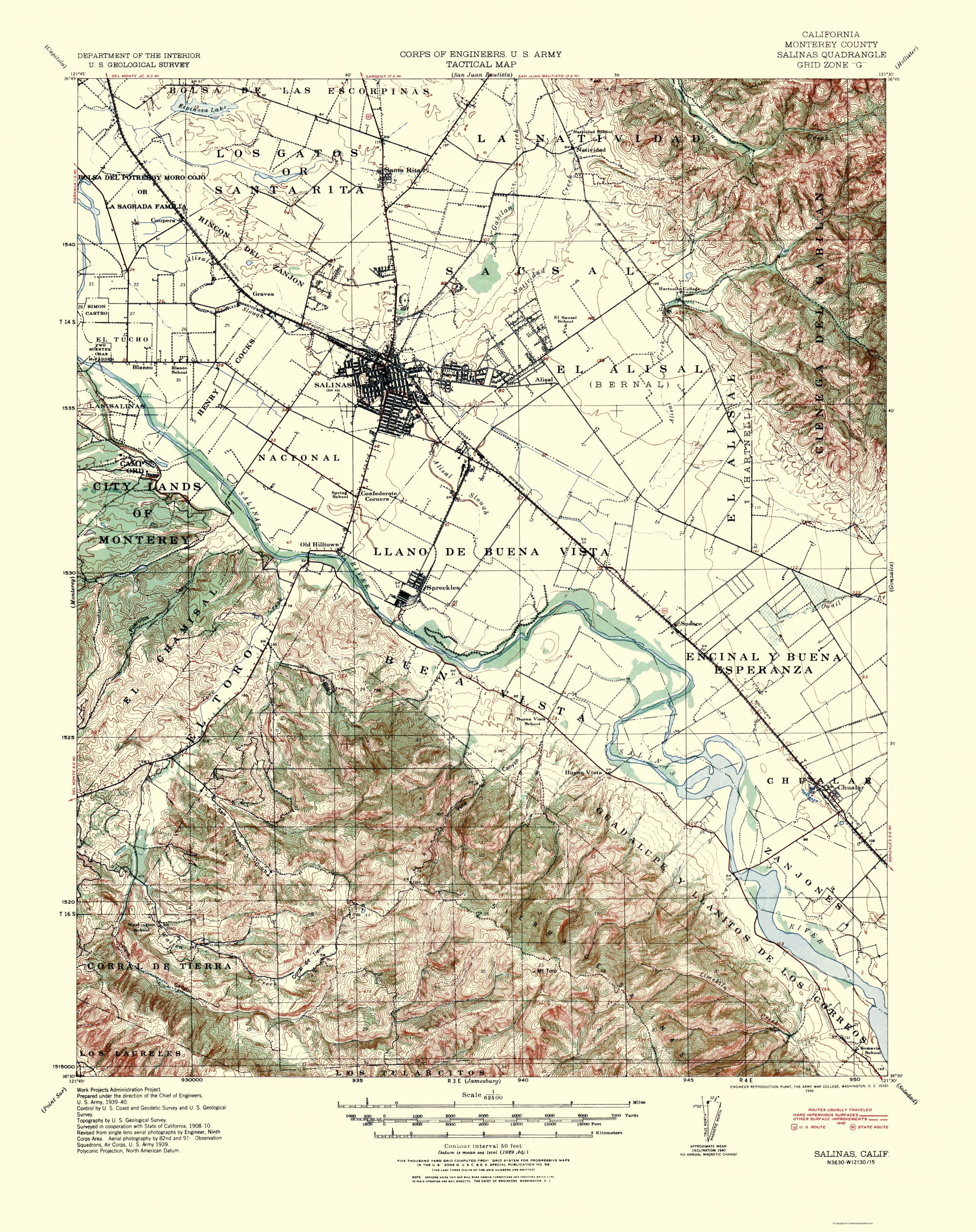 Old Topographical Map Salinas California 1940