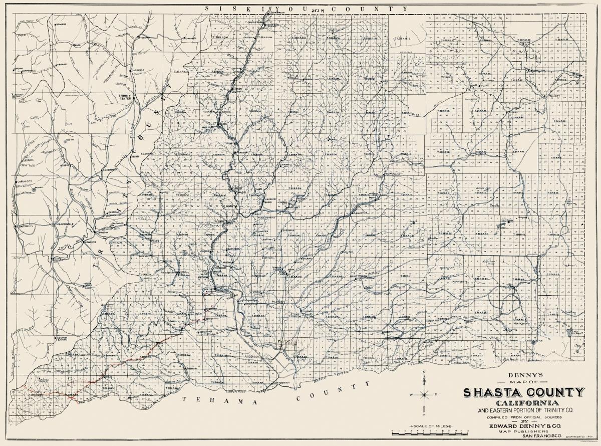 old county map shasta california 1904