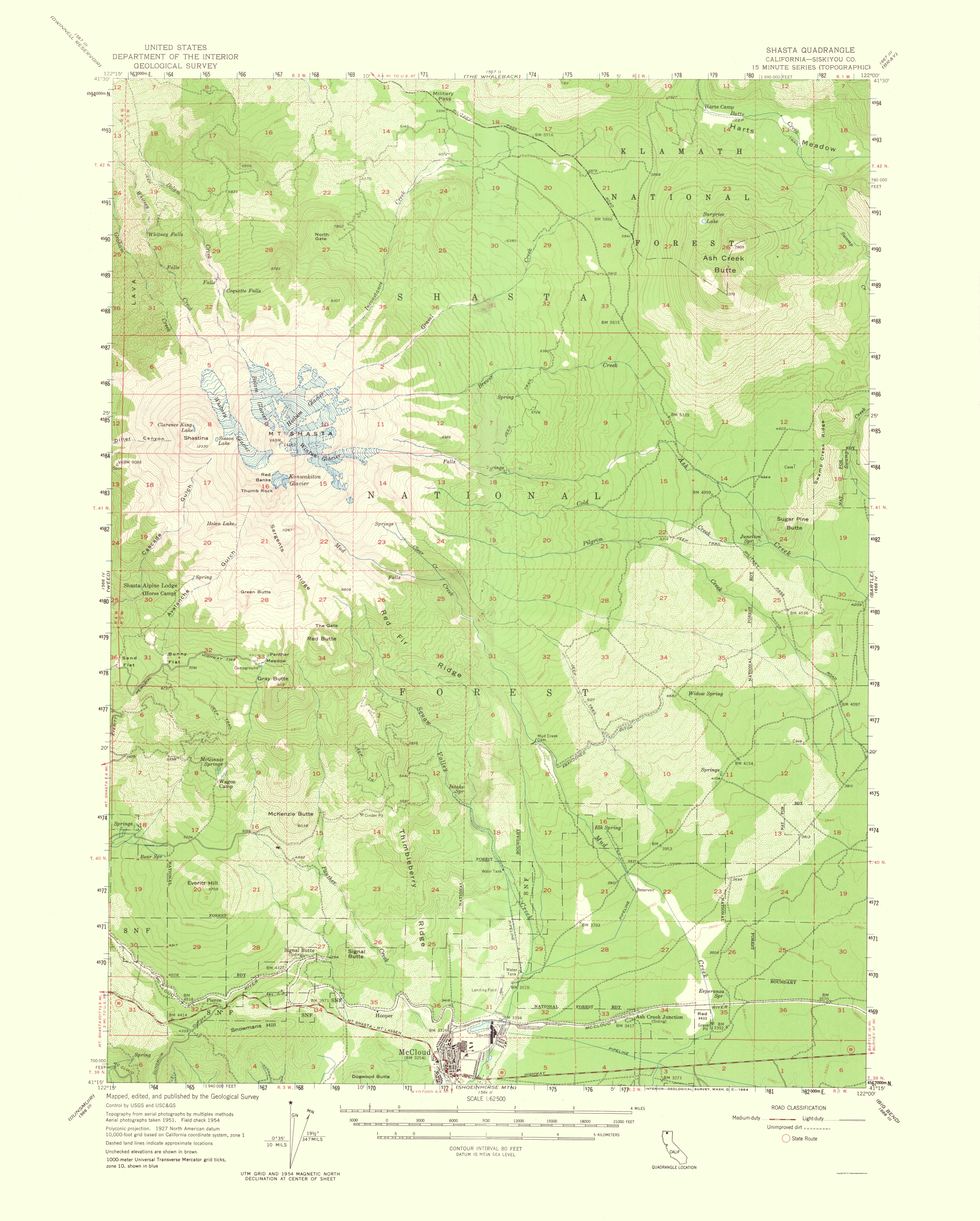 Old Topographical Map Shasta California 1964