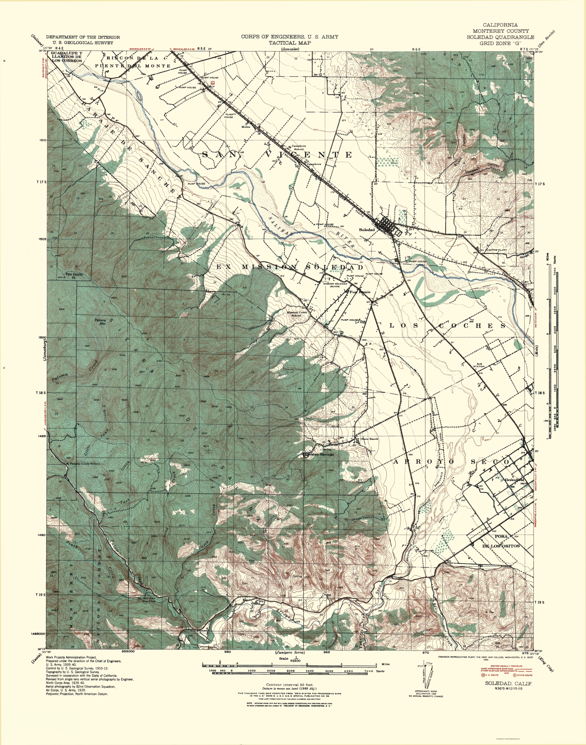 Old Topographical Map Soledad California 1940