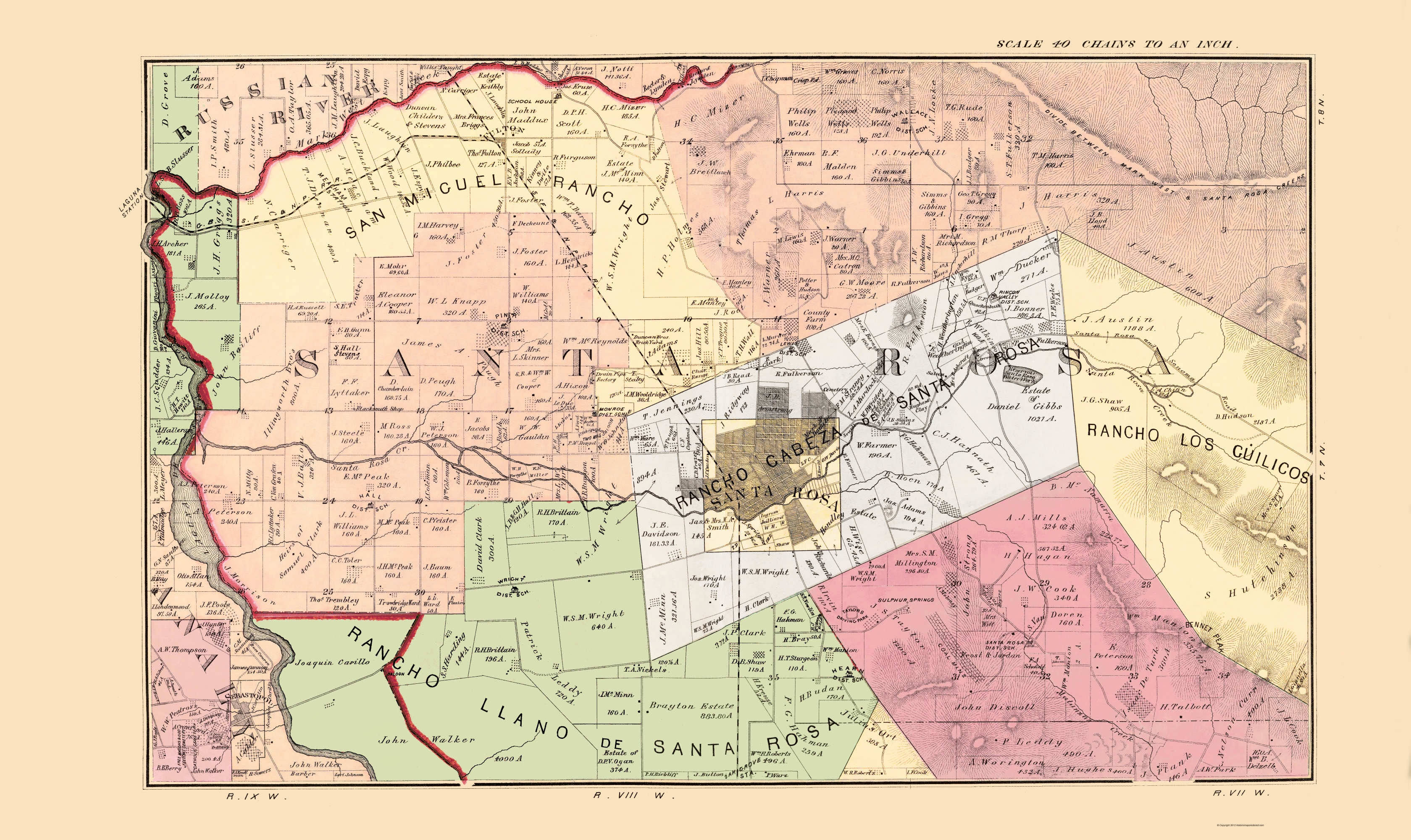 Santa Rosa California Map.Old County Map Sonoma Central California Landowner 1877 23 X 38 63