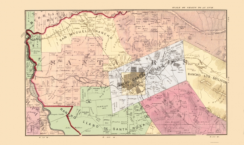 Old County Map - Sonoma, Central California Landowner 1877 - 23 x 38.63