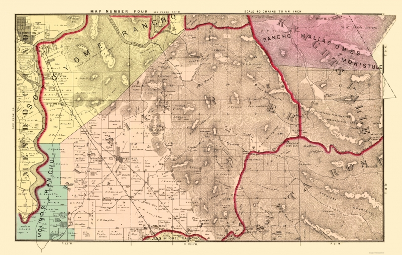 Old County Map - Sonoma, East Central California Landowner 1877 - 23 x 36.30