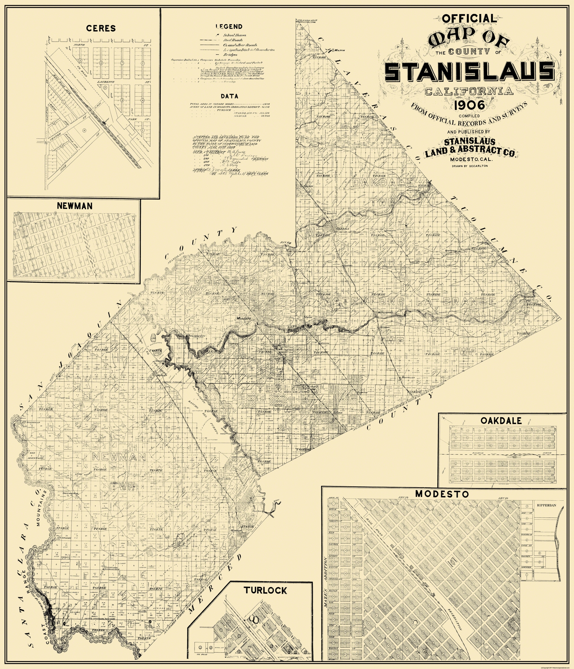 Old County Map Stanislaus California Landowner 1906