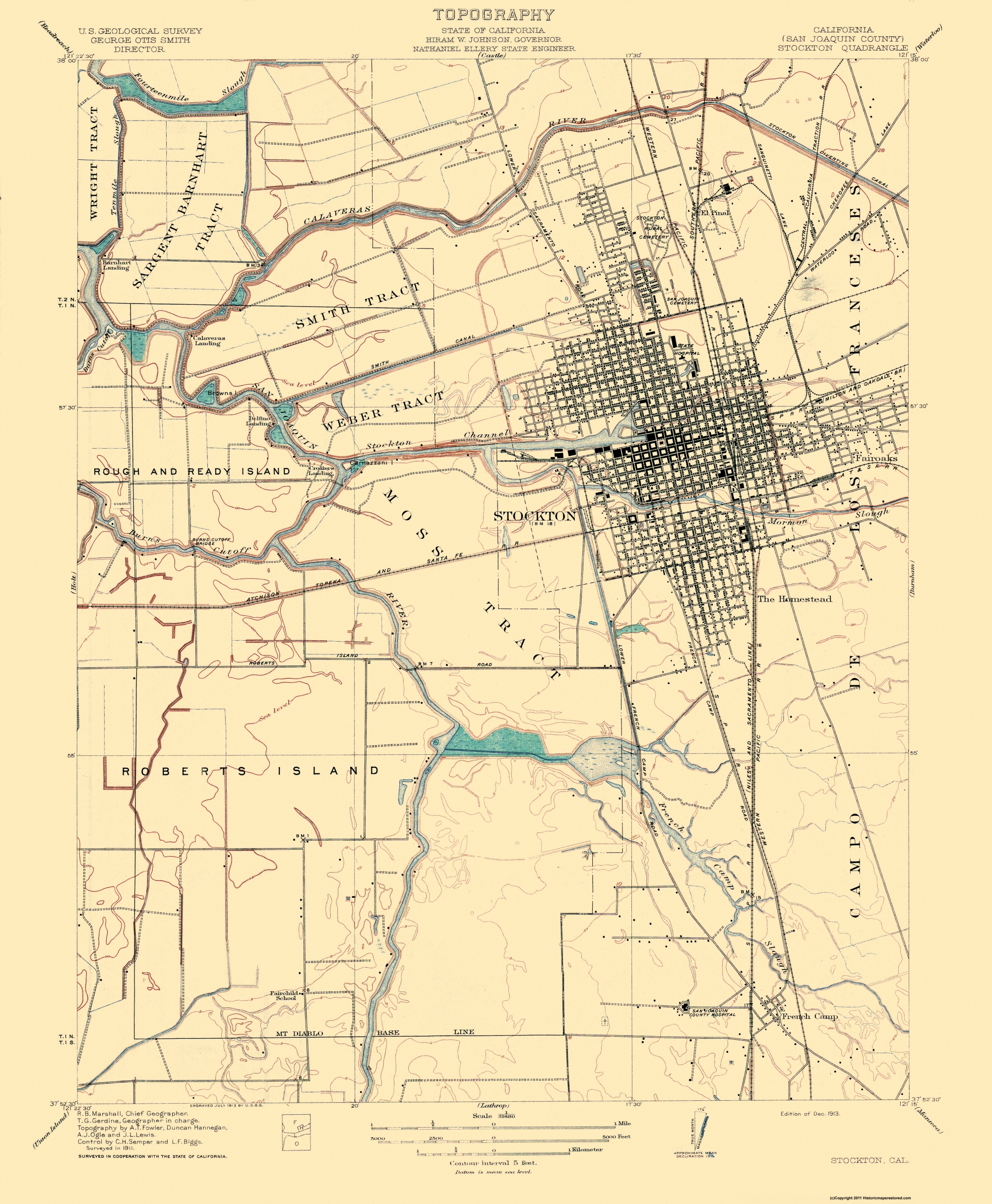 Old Topographical Map - Stockton California 1913