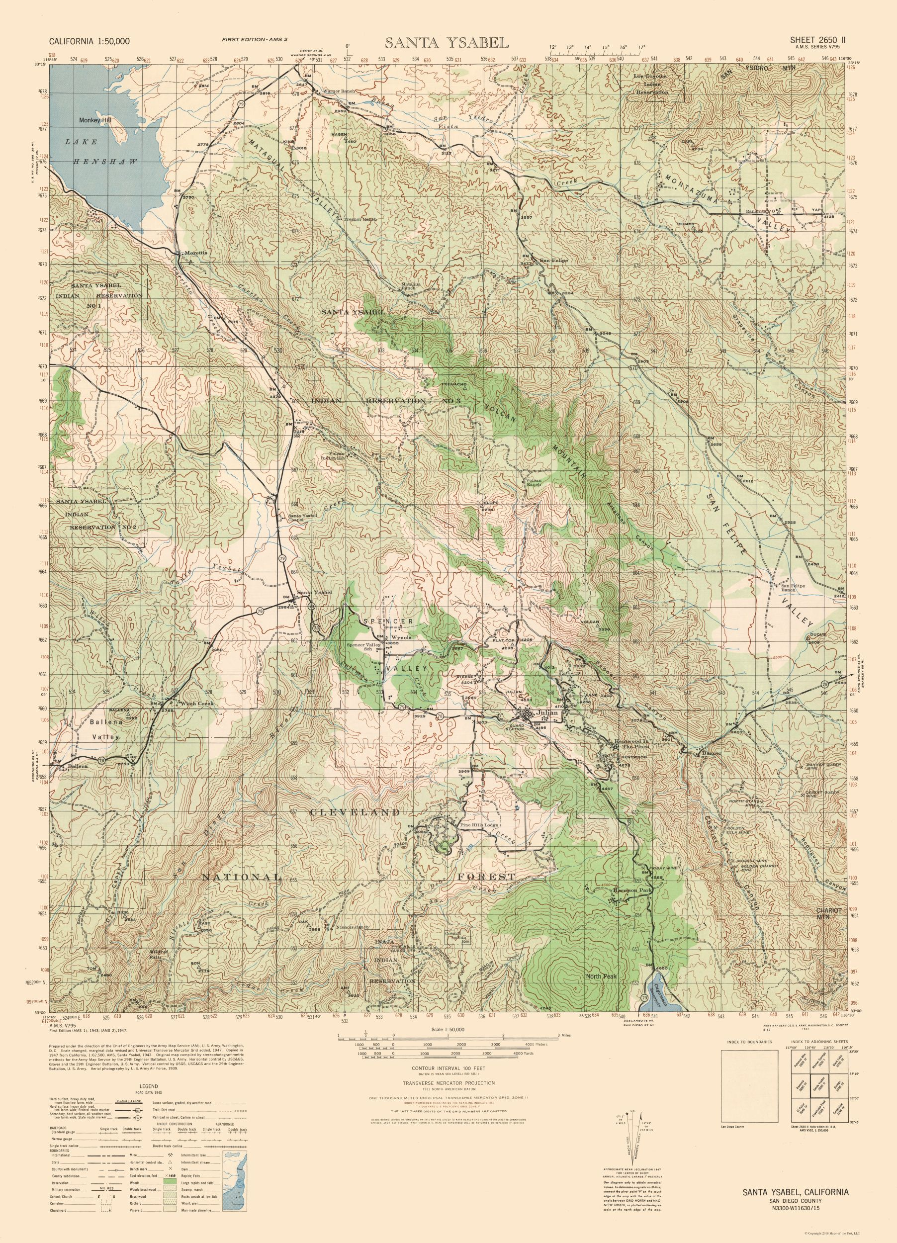 Historical Topographical Maps Santa Ysabel Sheet Us Army 1943 - Us-army-topographic-maps