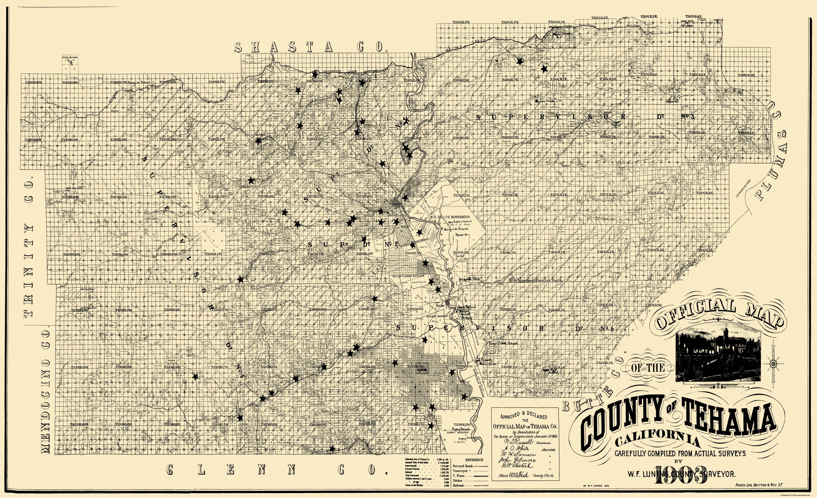 Old County Map Tehama California Landowner 1903
