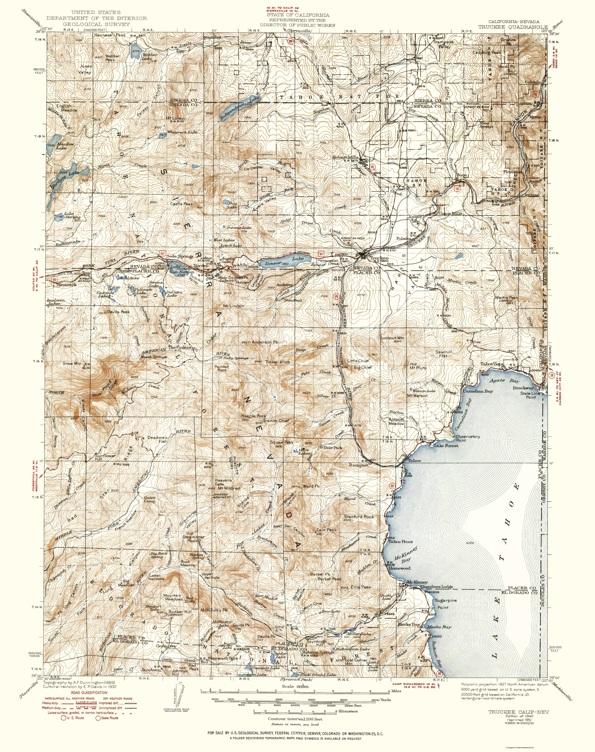 Old Topographical Map Truckee California 1940