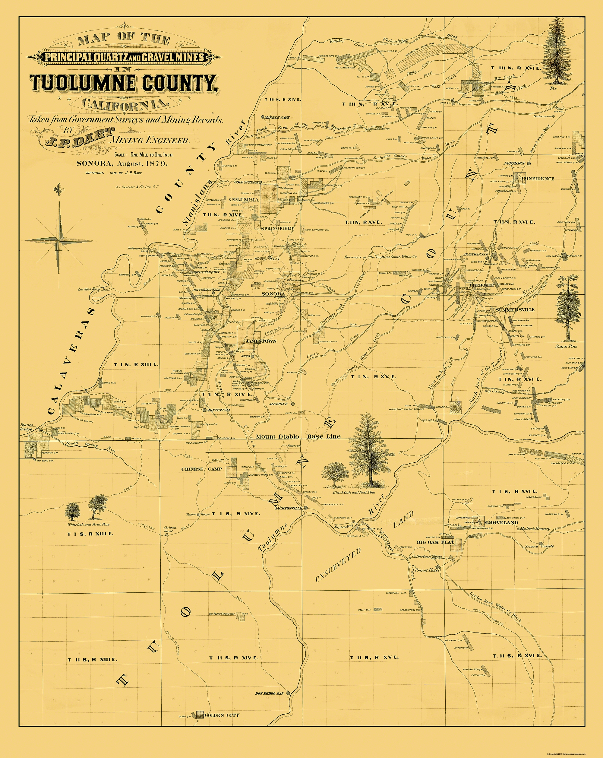 Old County Map Tuolumne California Landowner 1878