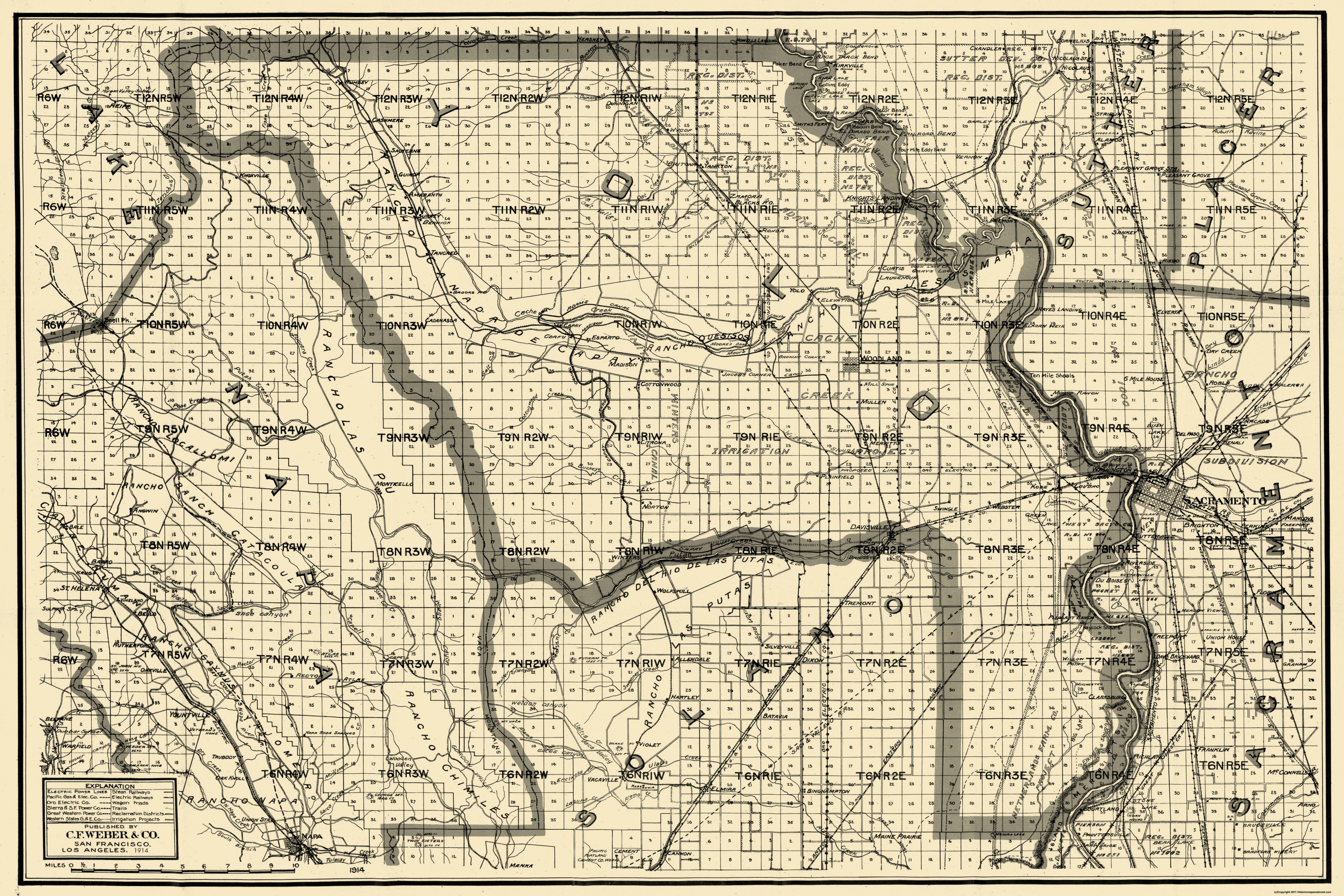 Old County Map Yolo California 1914