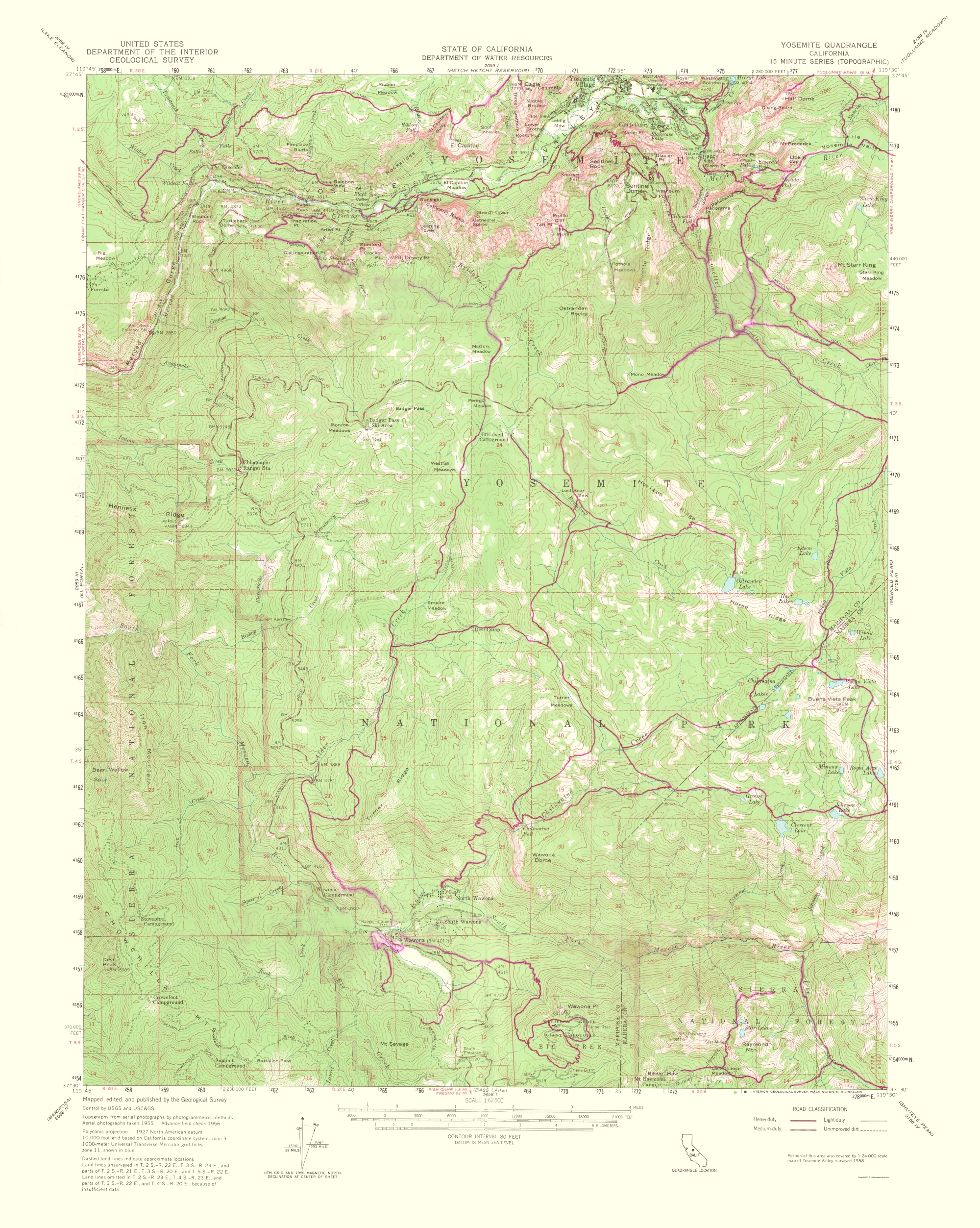 Old Topographical Map Yosemite California 1956
