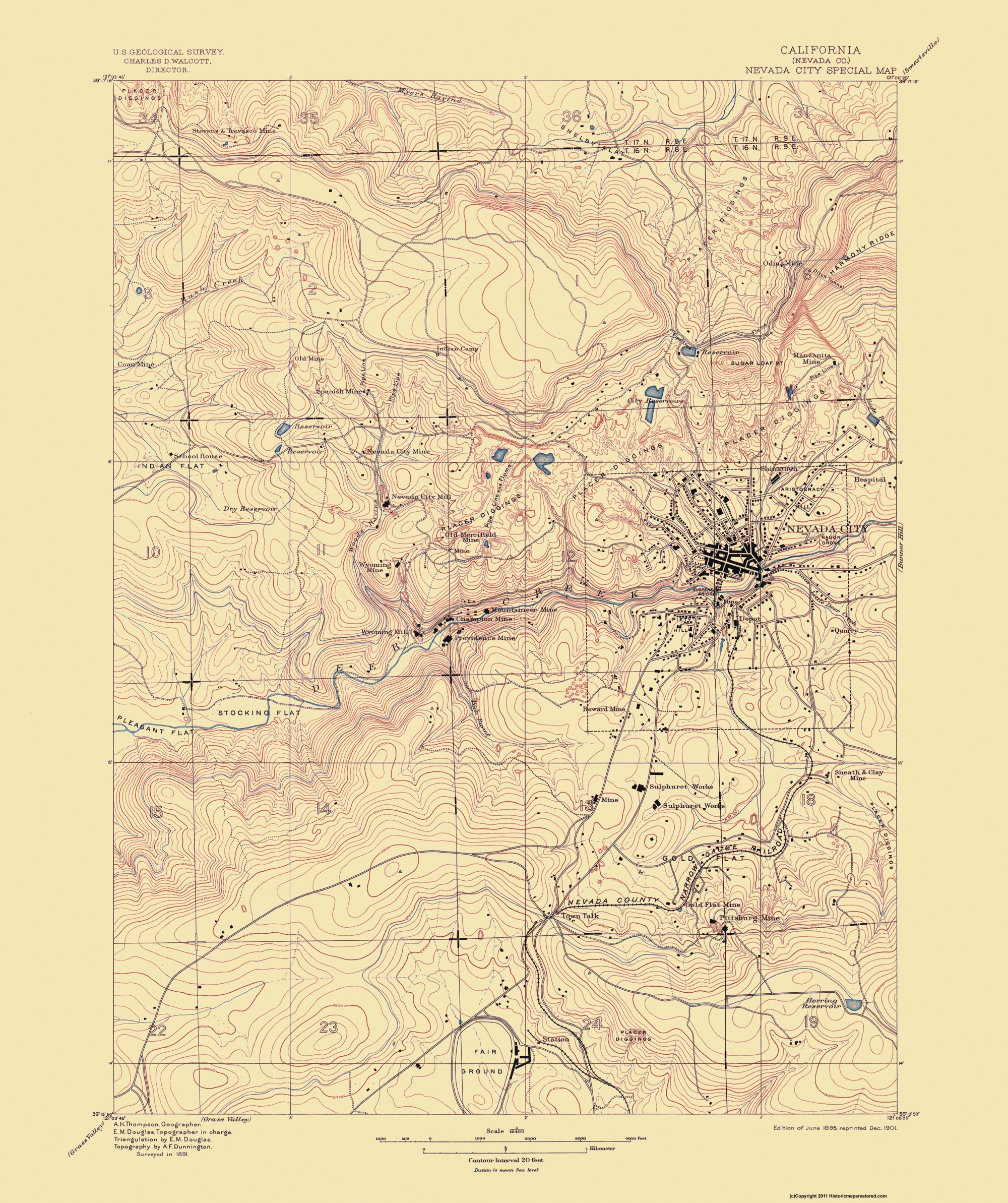 Old Topographical Map - Nevada City California 1895