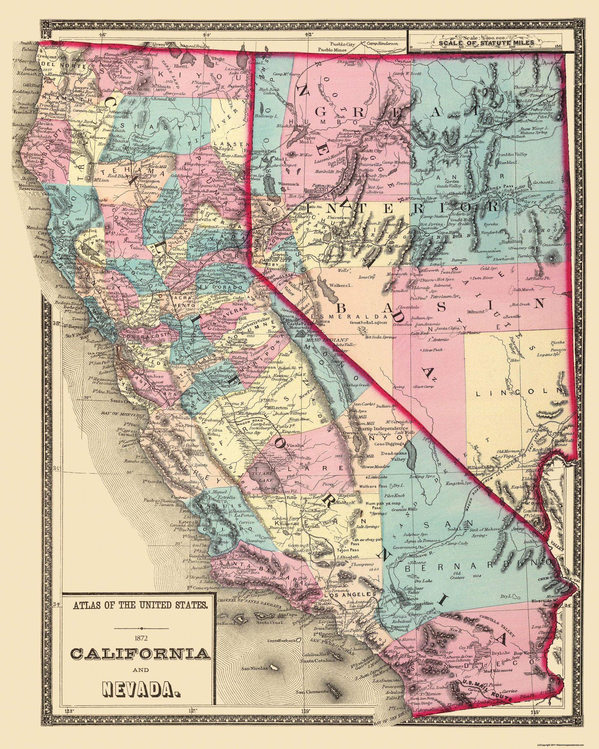 Old State Map - California, Nevada - 1872