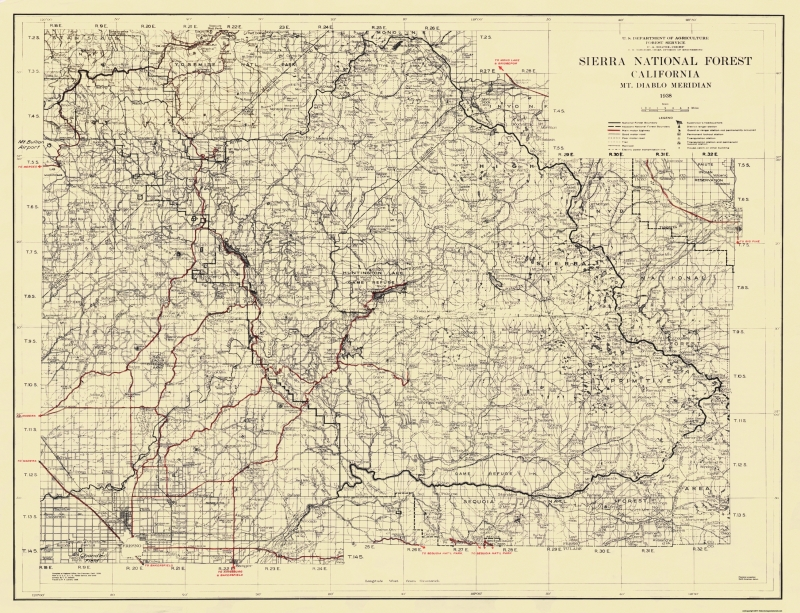 Old State Map - Sierra National Forest, California - USFS 1938 - 30 on california oil spill map, california lata map, california rocks map, california wildland urban interface map, current forest fires california map, california national parks map, california shark attack map, california wilderness map, california flooding map, california groundwater map, california nature map, nevada jarbidge wilderness area map, lake forest california map, california hunting map, california bigfoot sightings map, california district court map,