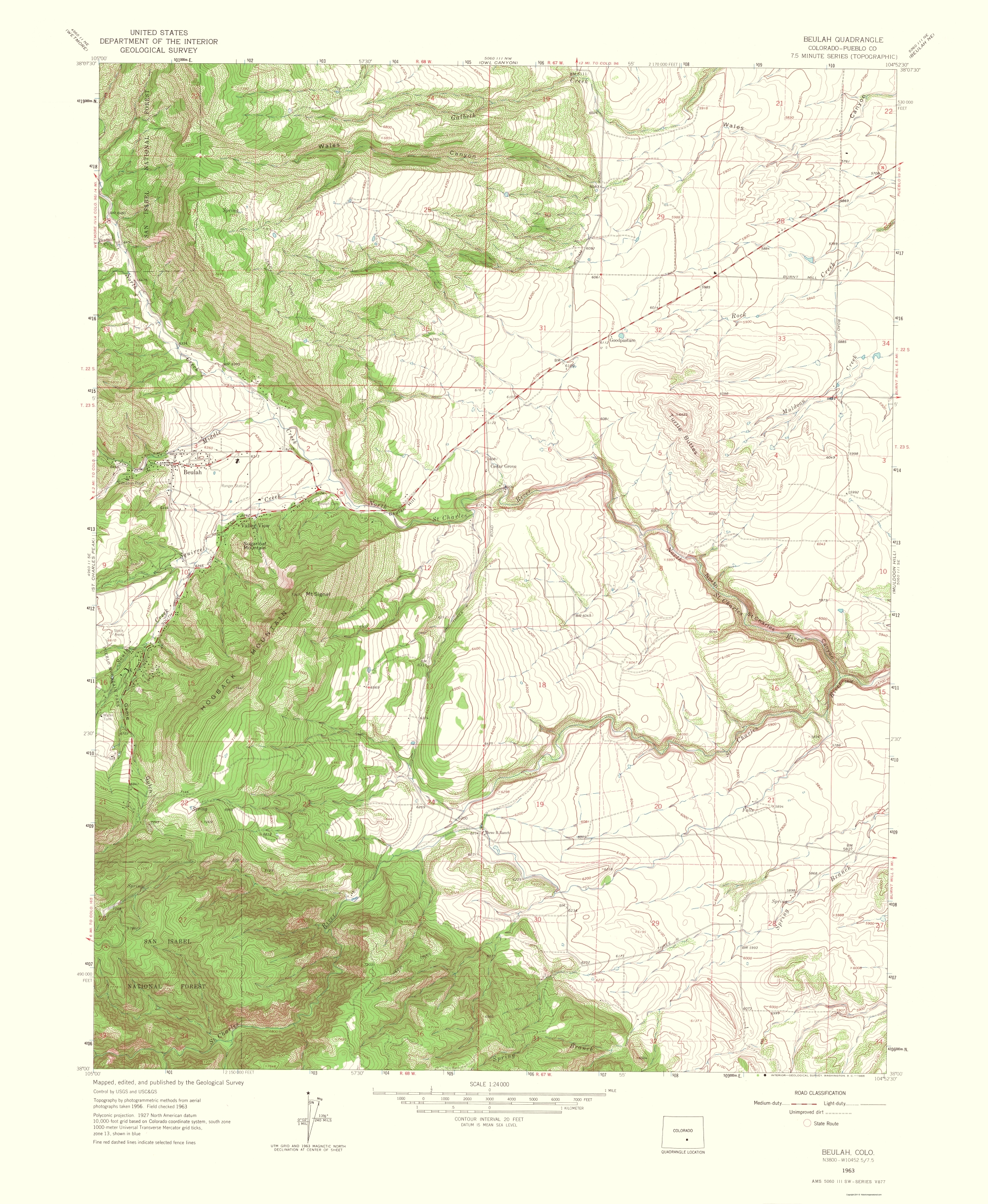 Old Topographical Map Beulah Colorado 1966