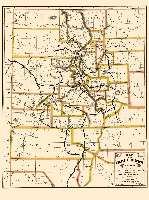 Old Railroad Map Denver and Rio Grande Railway 1872