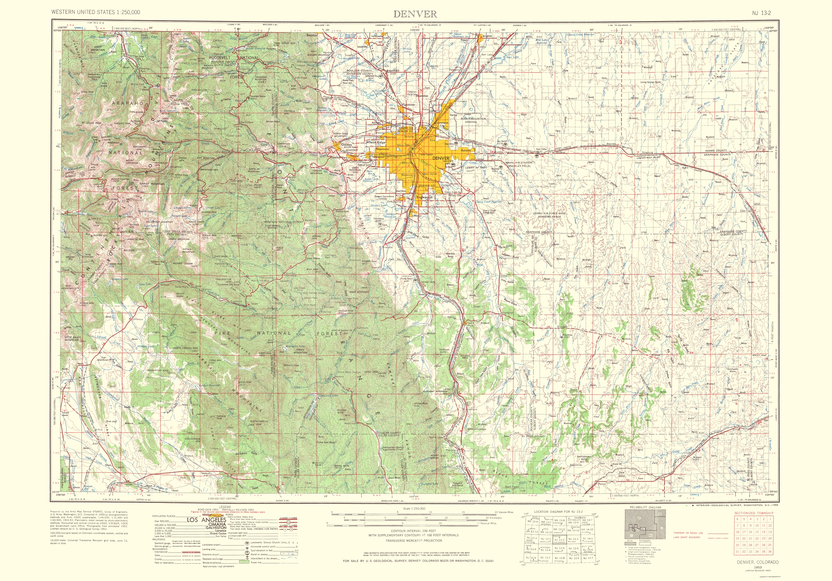 Old Topographical Map - Denver Colorado 1966