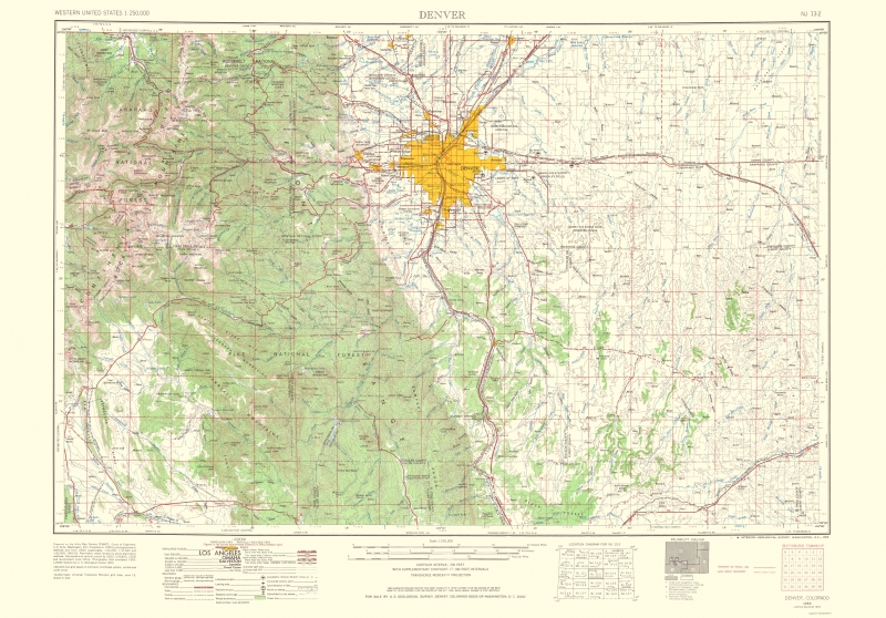 denver colorado elevation map Old Topographical Map Denver Colorado 1966 denver colorado elevation map
