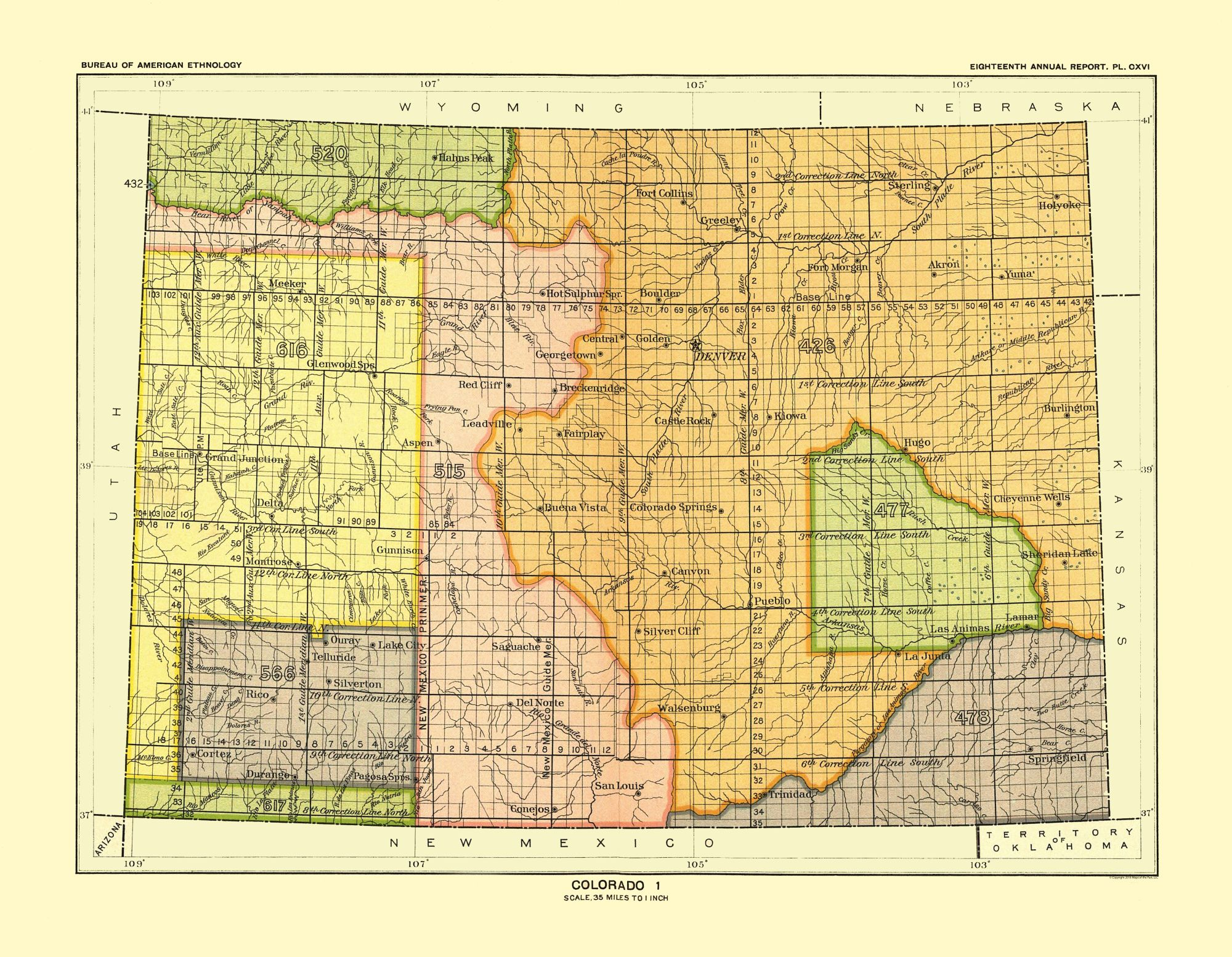 Old State Maps Colorado Denver Hoen 1896 29 61 X 23