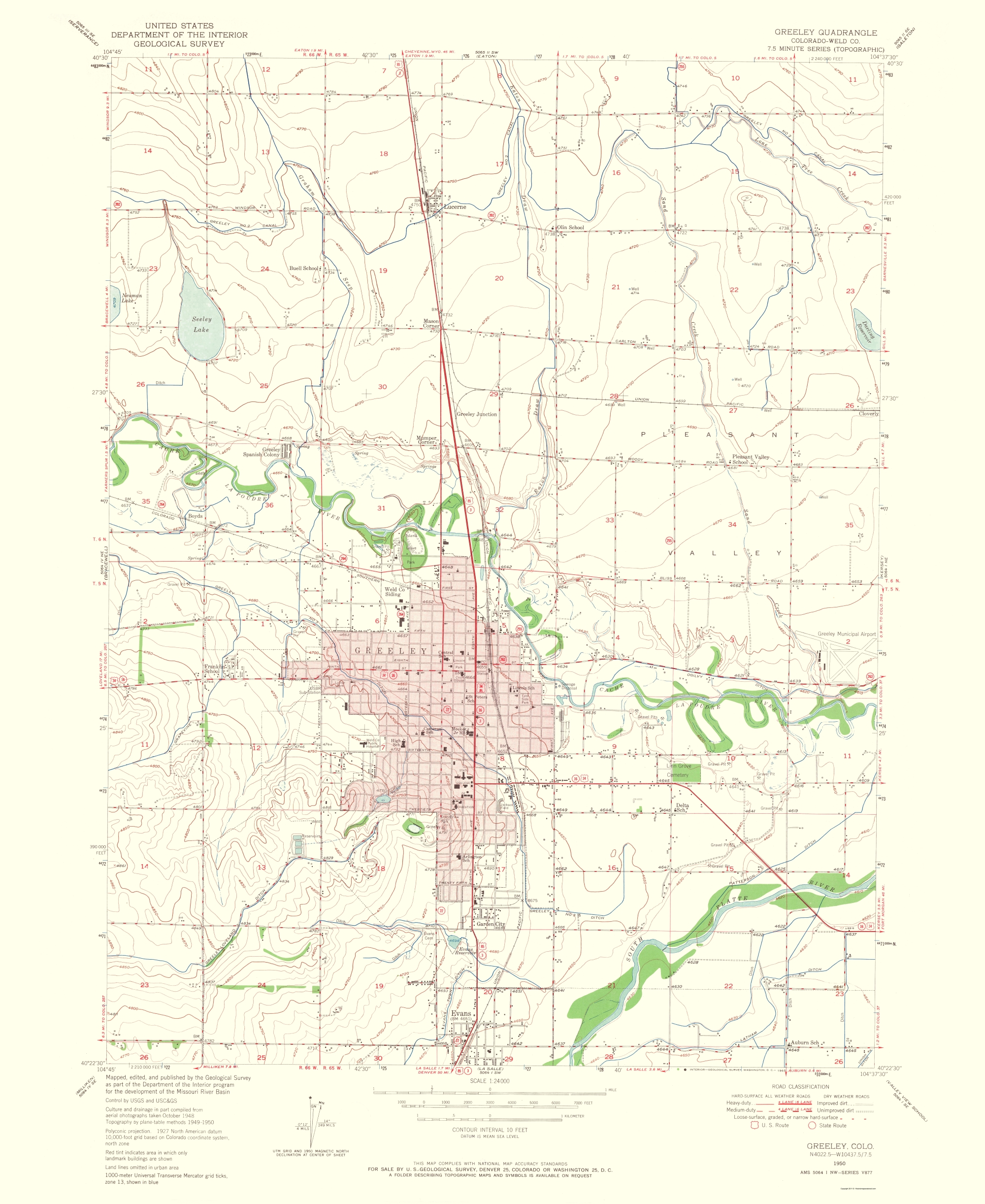 Old Topographical Map Greeley Colorado 1965