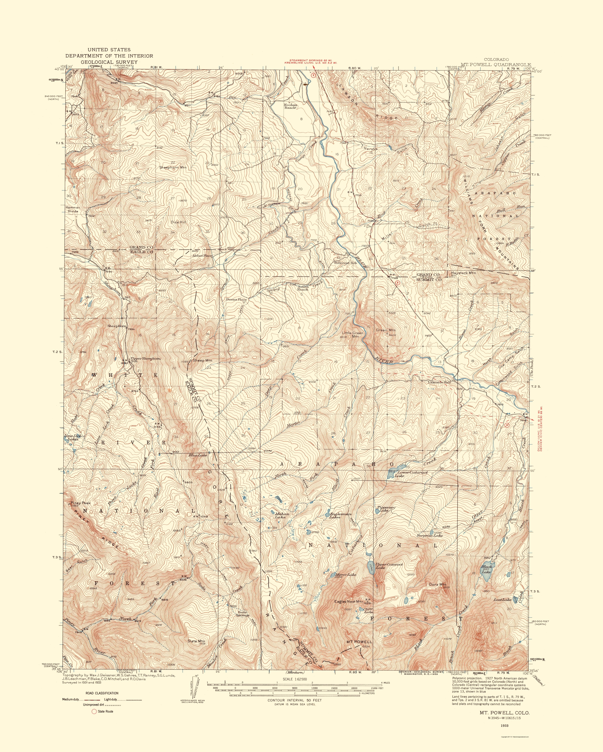 Minturn Colorado Map.Old Topographical Map Mt Powell Colorado 1933