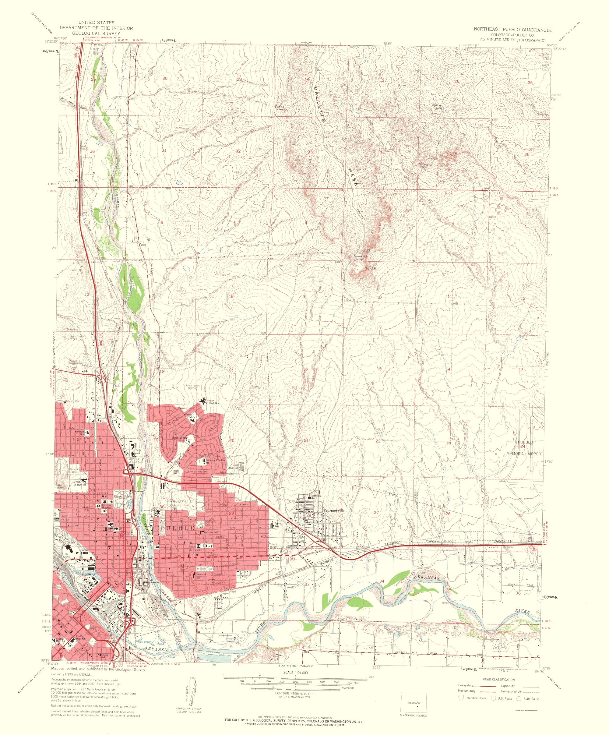 Topographical Map - North East Pueblo Colorado Quad - USGS 1963 - 23 x 27.75